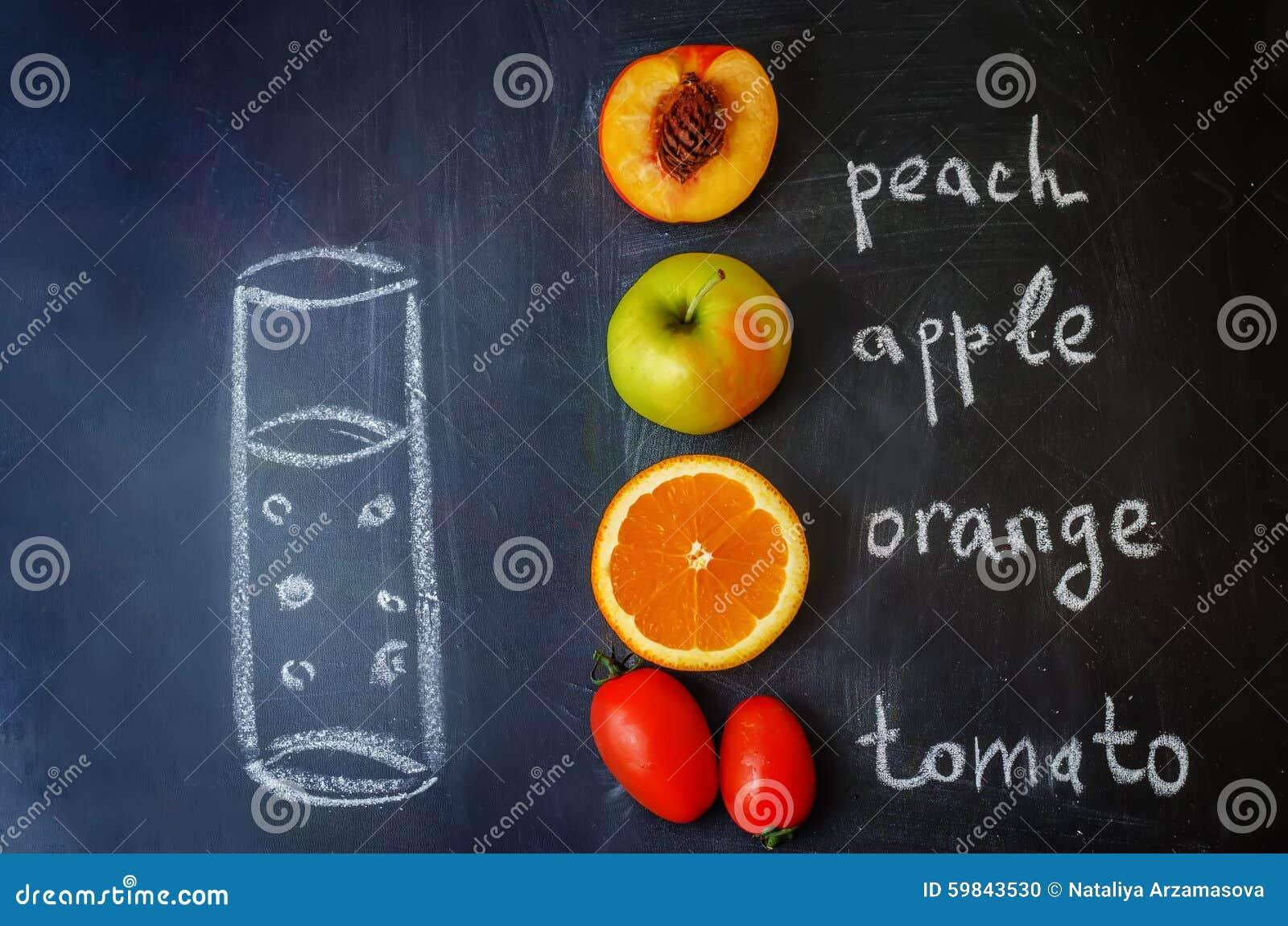 Perzik, sinaasappel, tomaat; Apple-de vruchten met woorden worden geschreven met c