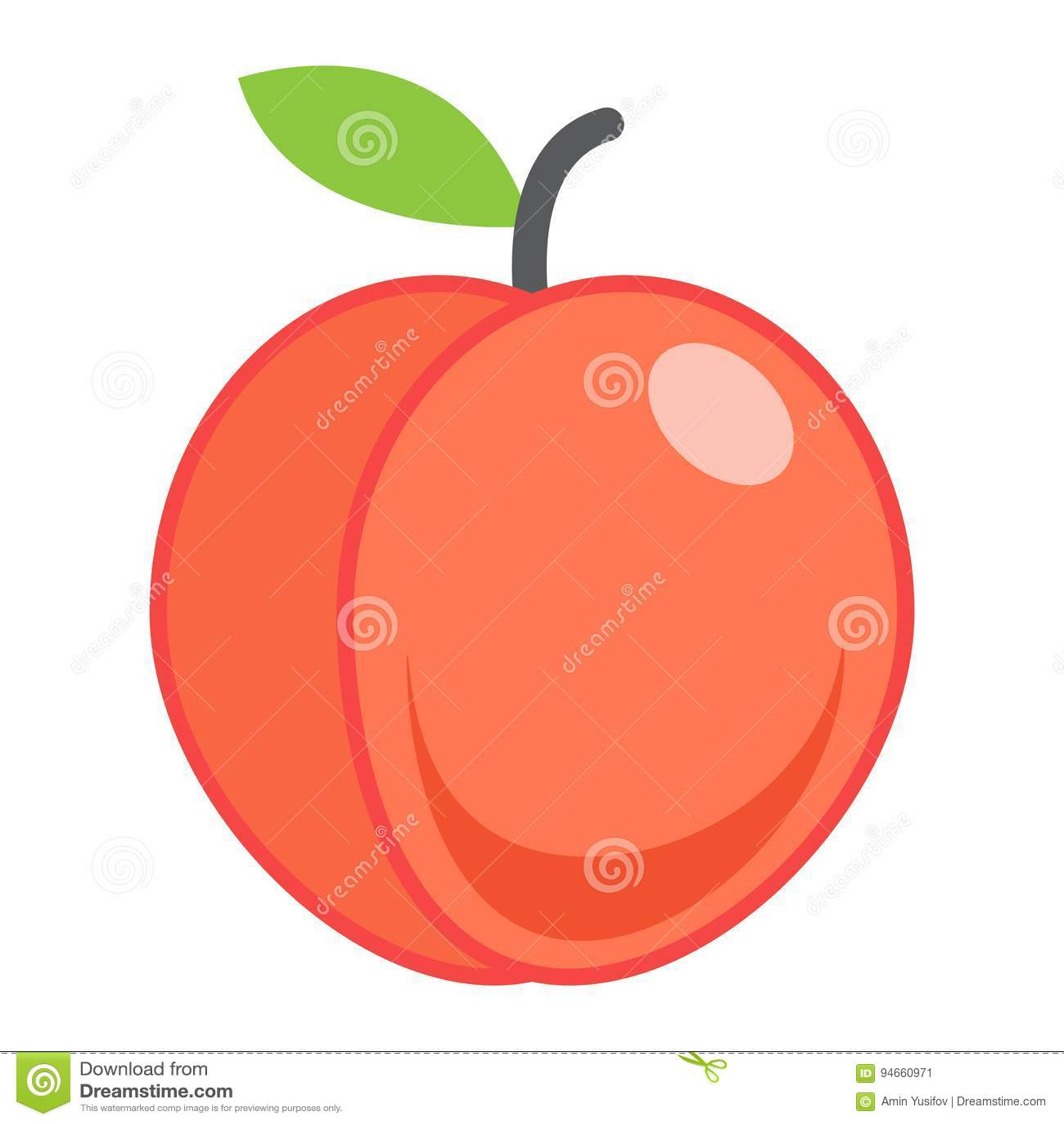 Perzik vlak pictogram, fruit en dieet, grafische vector
