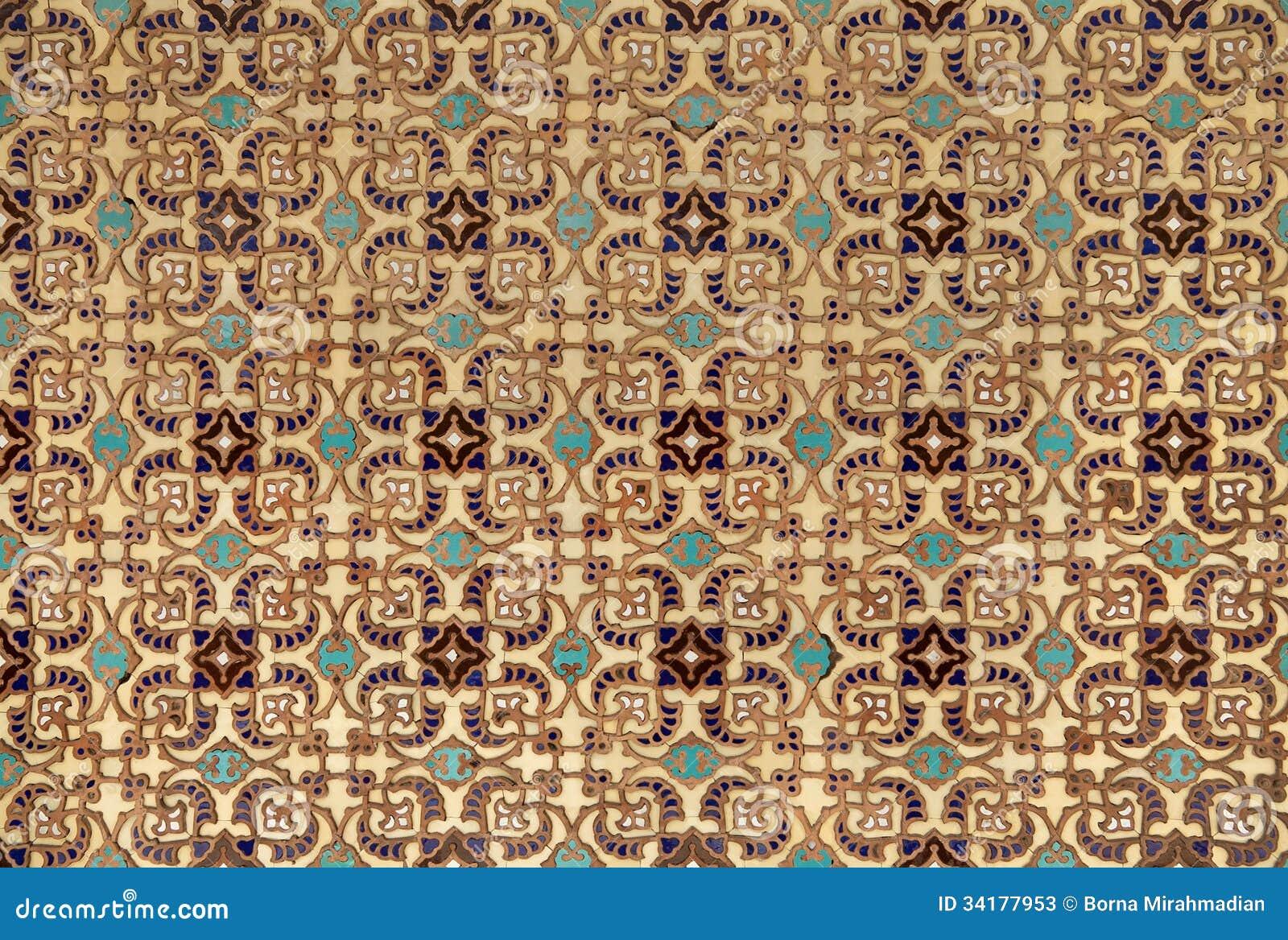 Tegels Met Patroon : Perzische tegels met oud islamitisch patroon stock afbeelding
