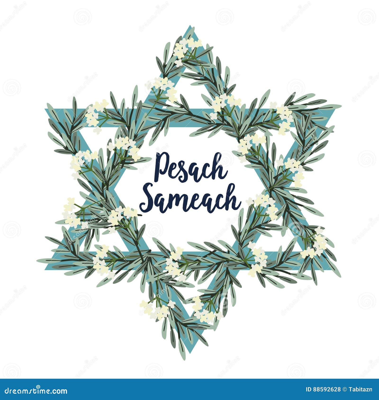 Pesach Passover kartka z pozdrowieniami z Żydowską gwiazdą, ręka rysującymi kwiatami, gałązkami oliwnymi, i tła kwiatów świeży il
