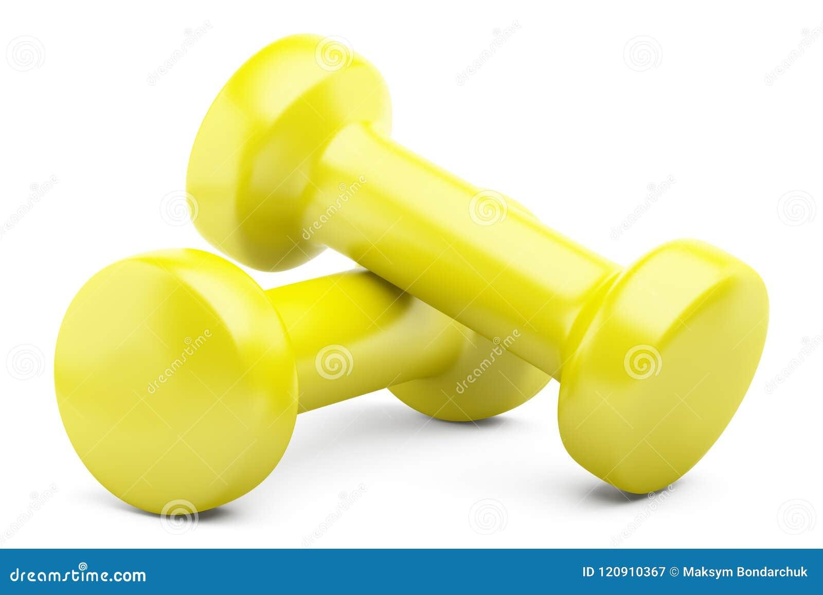 Pesas de gimnasia amarillas aisladas en blanco