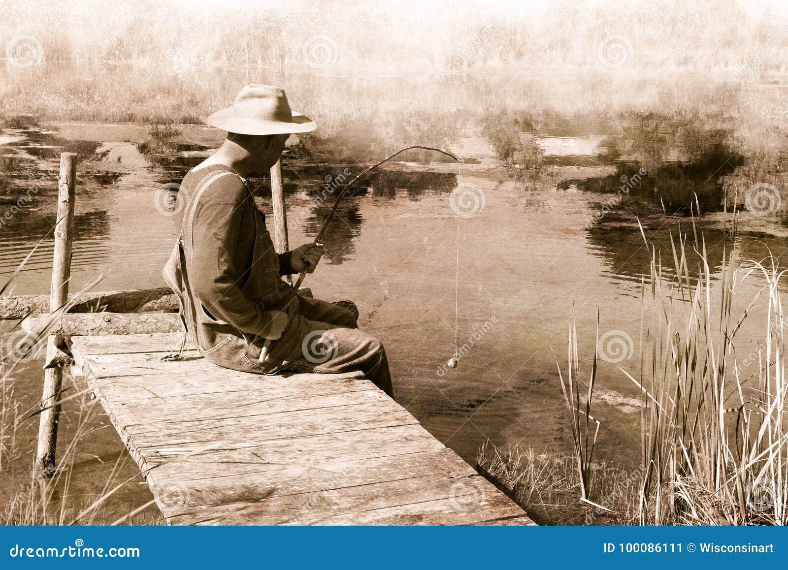 Pesca d annata dell uomo, nostalgia, pescatore