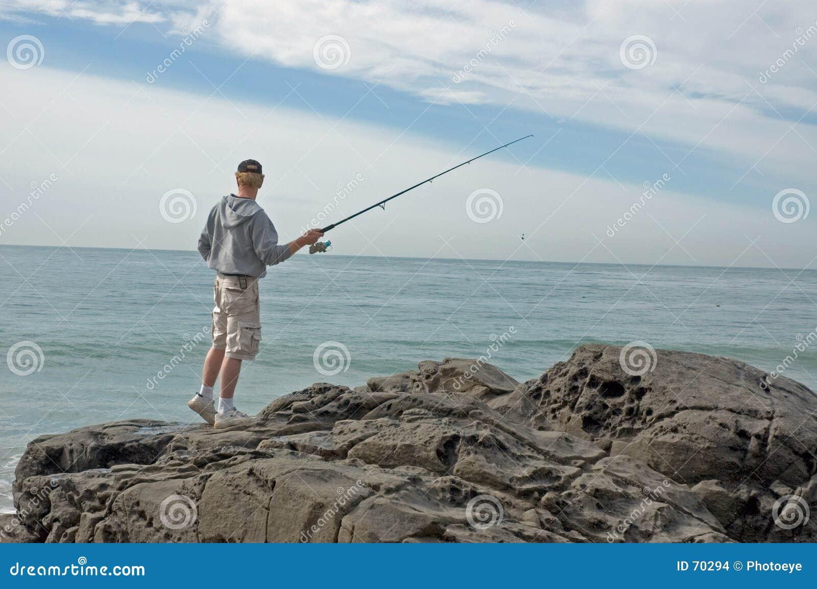 Pesca de uma rocha
