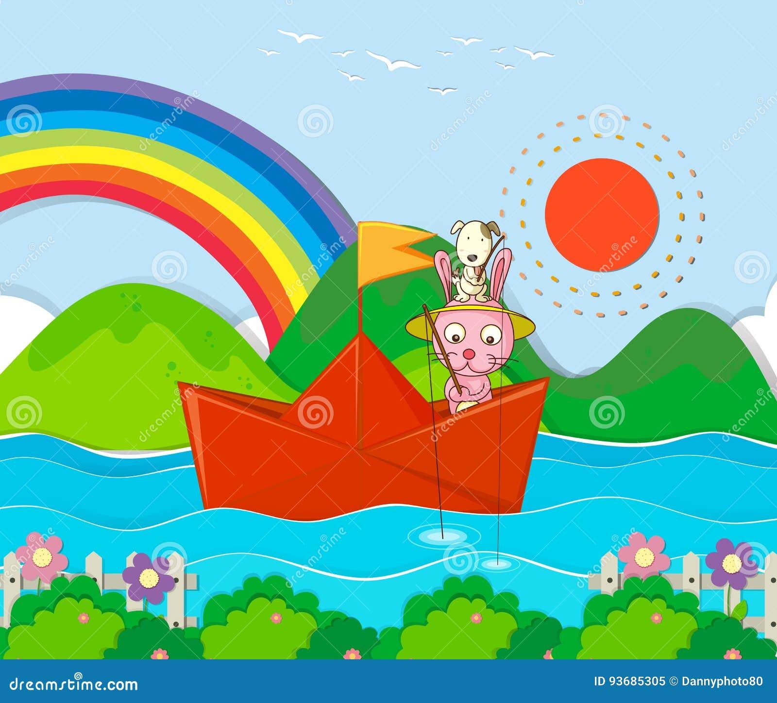 Pesca del coniglio nel paperboat nel fiume