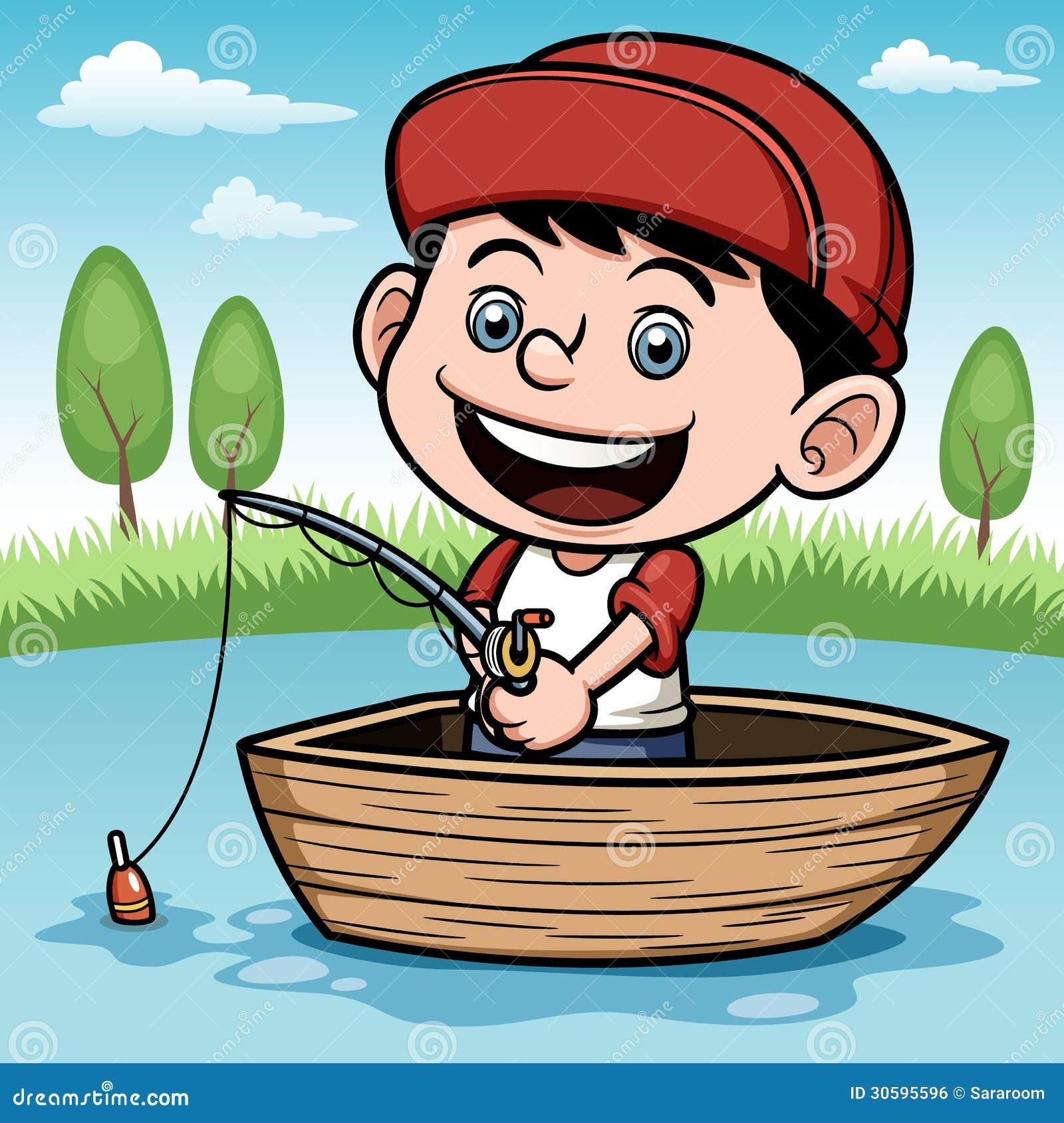 Pesca del muchacho en un barco