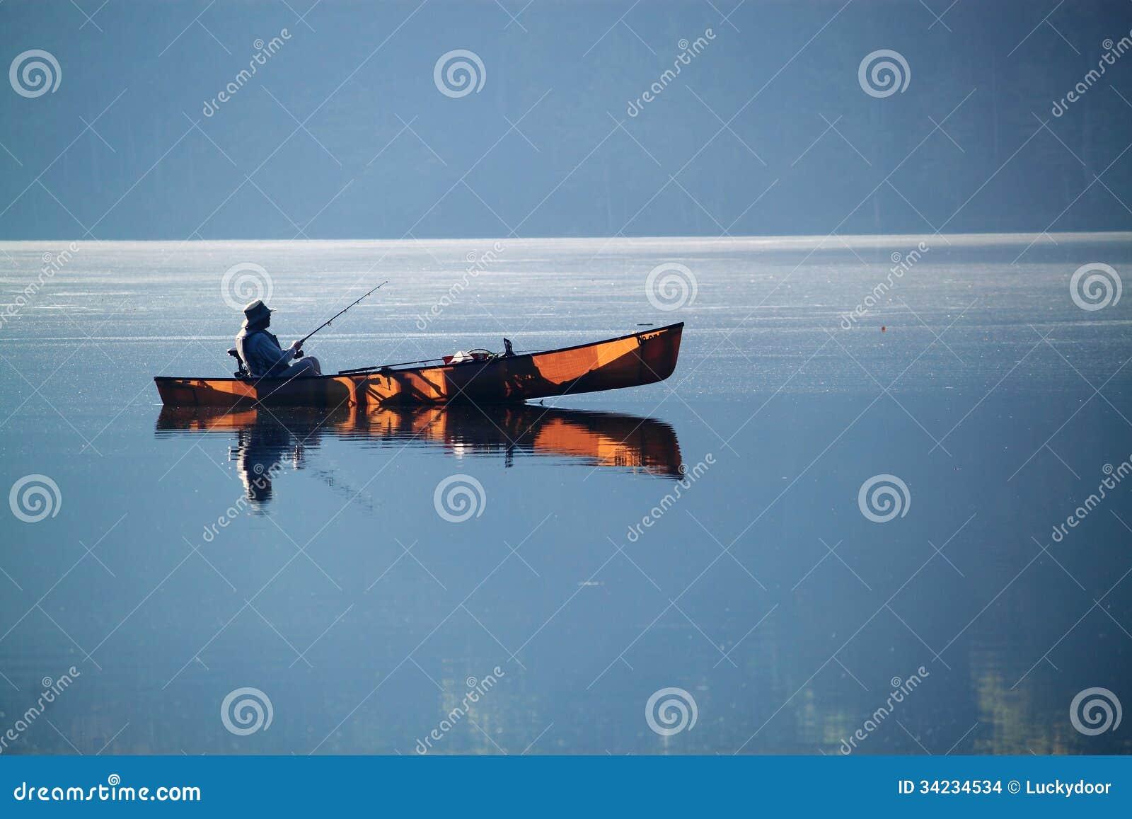 Pesca della barca del lago