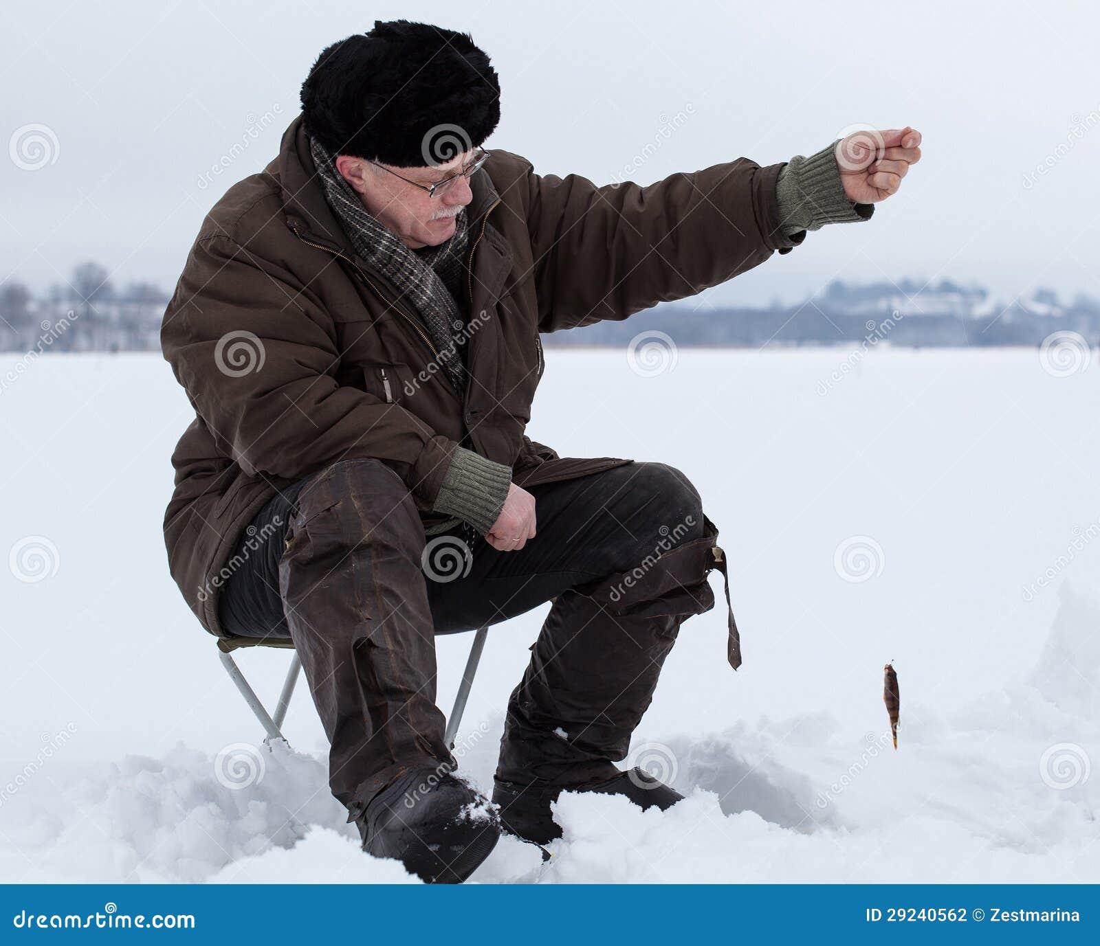 Download Pesca do inverno foto de stock. Imagem de closeup, homem - 29240562