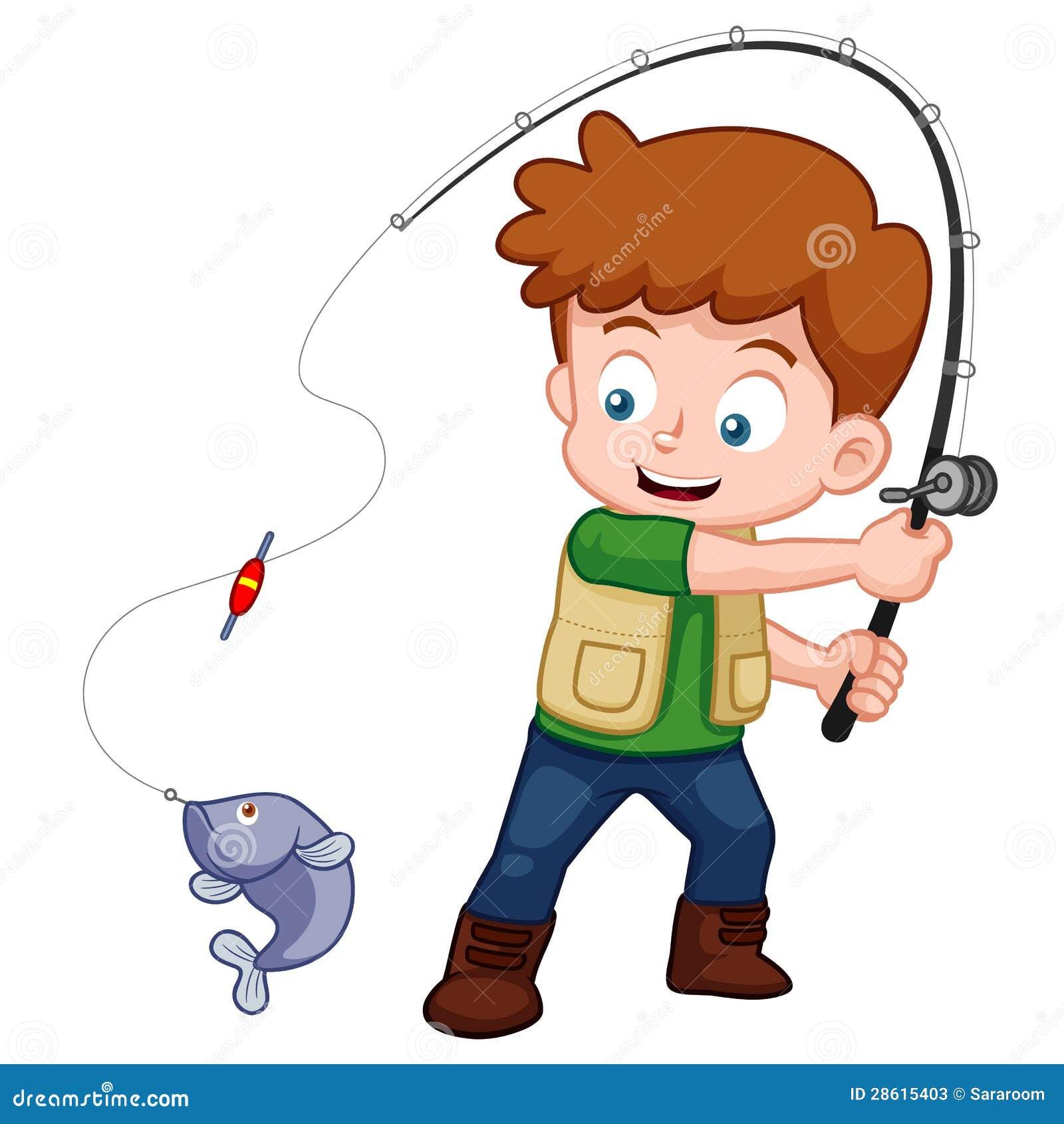 Pesca Do Menino Dos Desenhos Animados Ilustracao Do Vetor