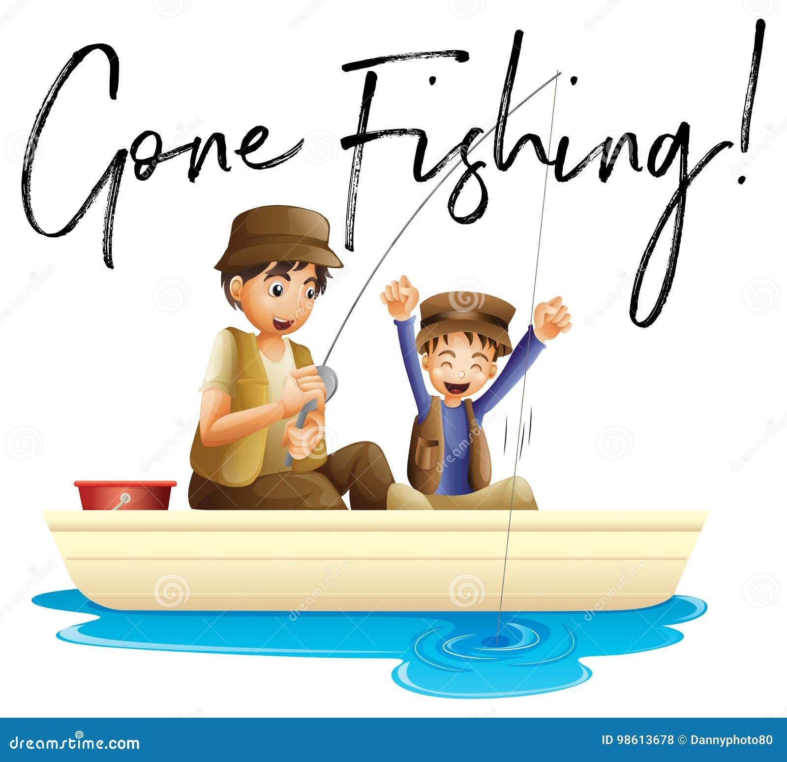 Pesca Do Pai E Do Filho Com Pesca Ida Frase Ilustração Do