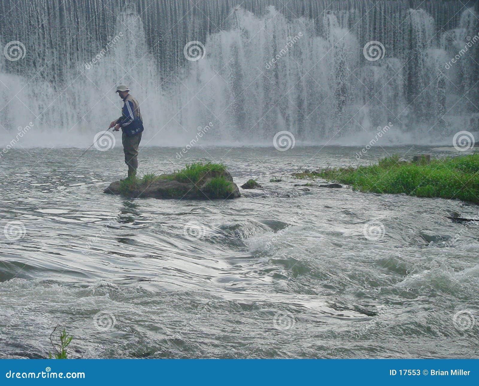 Pesca do rio da raiz