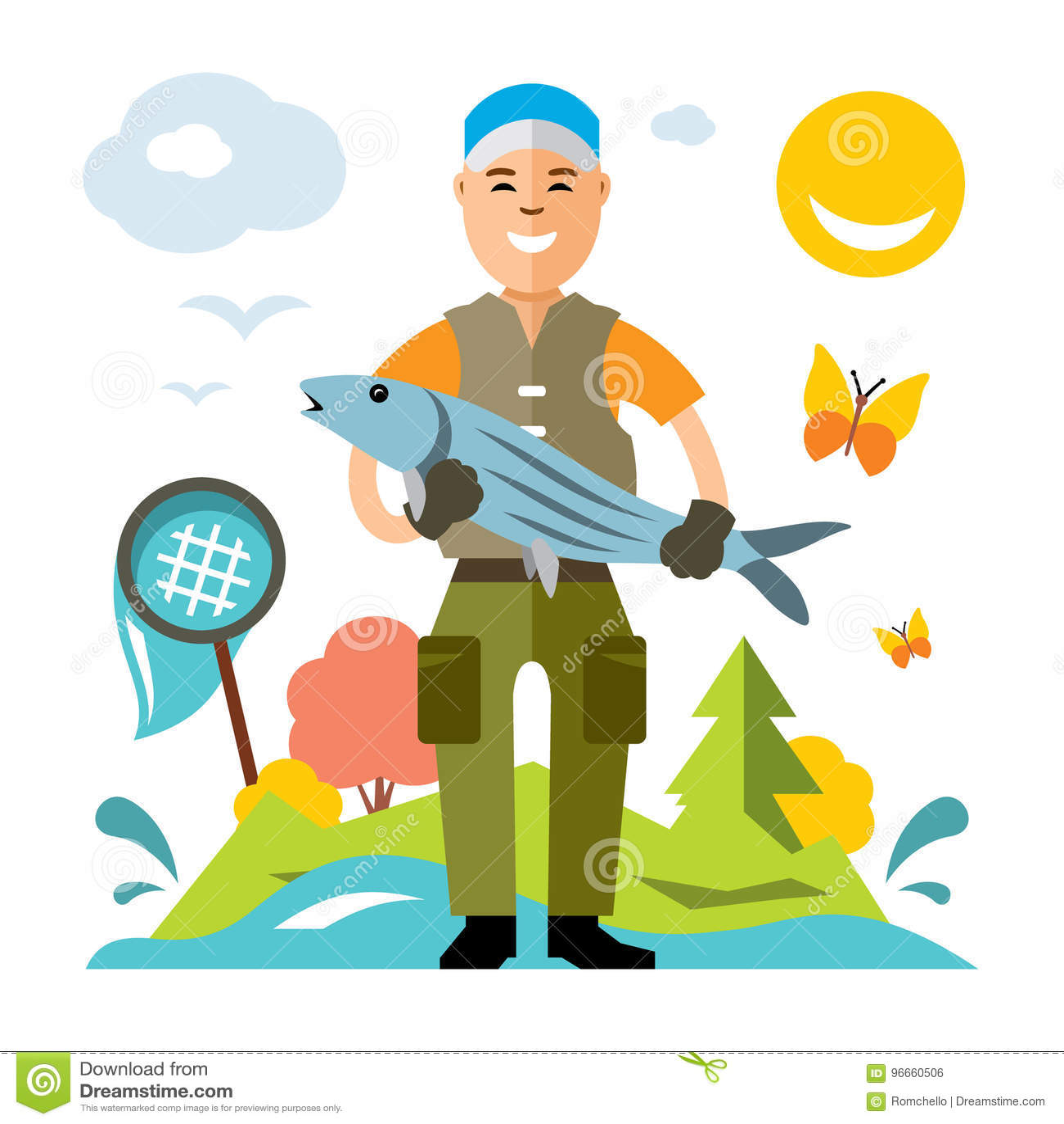 Pesca Do Vetor Pescador Com Peixes Grandes Ilustracao Colorida Dos