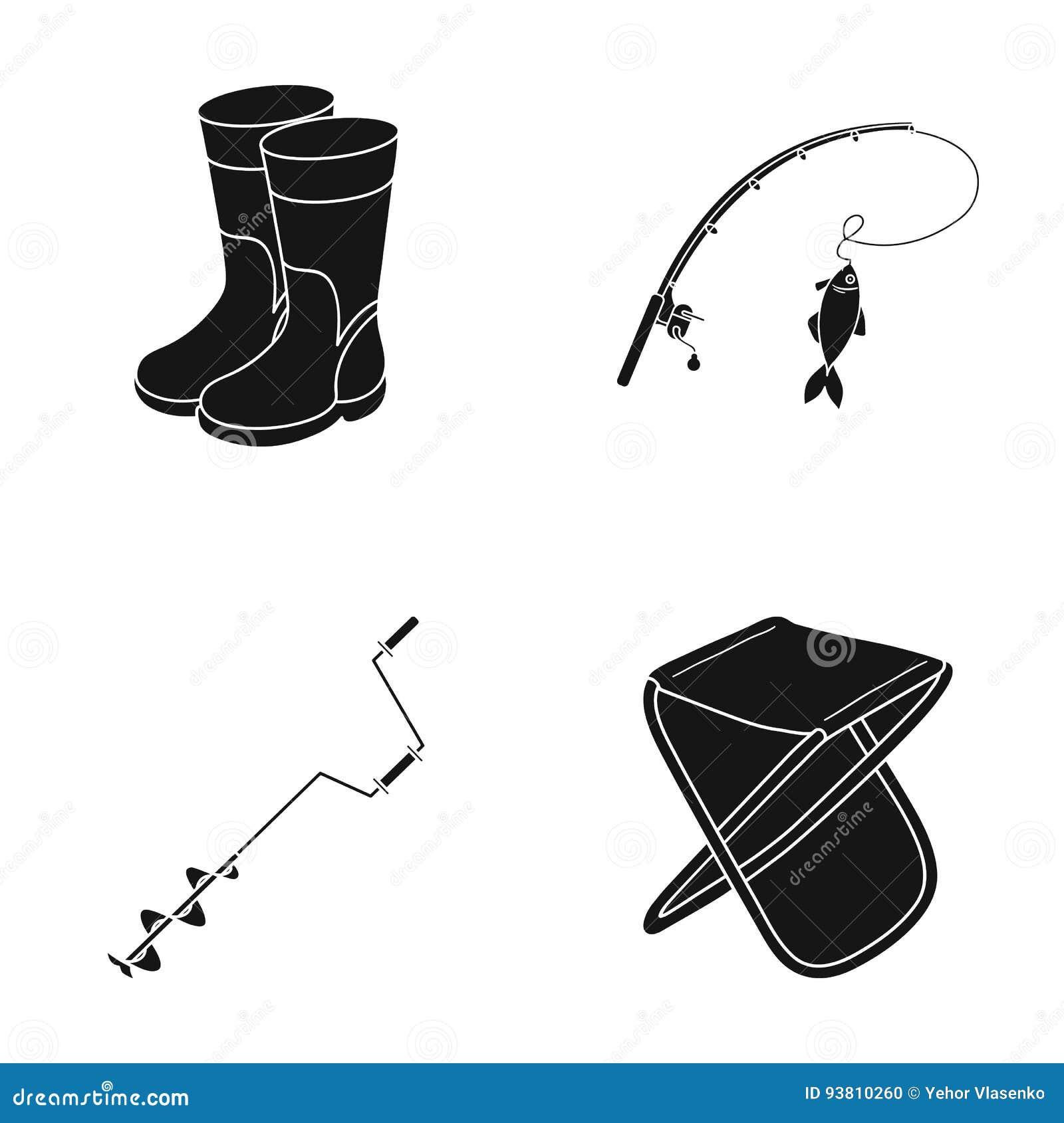 Pesca, pescado, captura, caña de pescar Pescando iconos determinados de la colección en estilo negro vector el web común del ejem