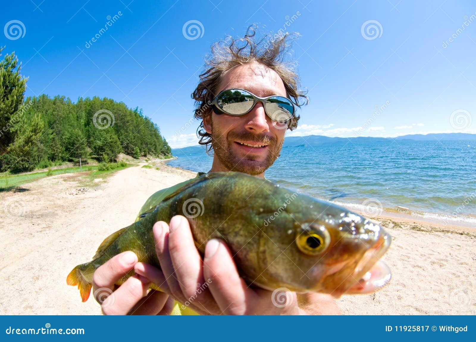 Pescador con un retén