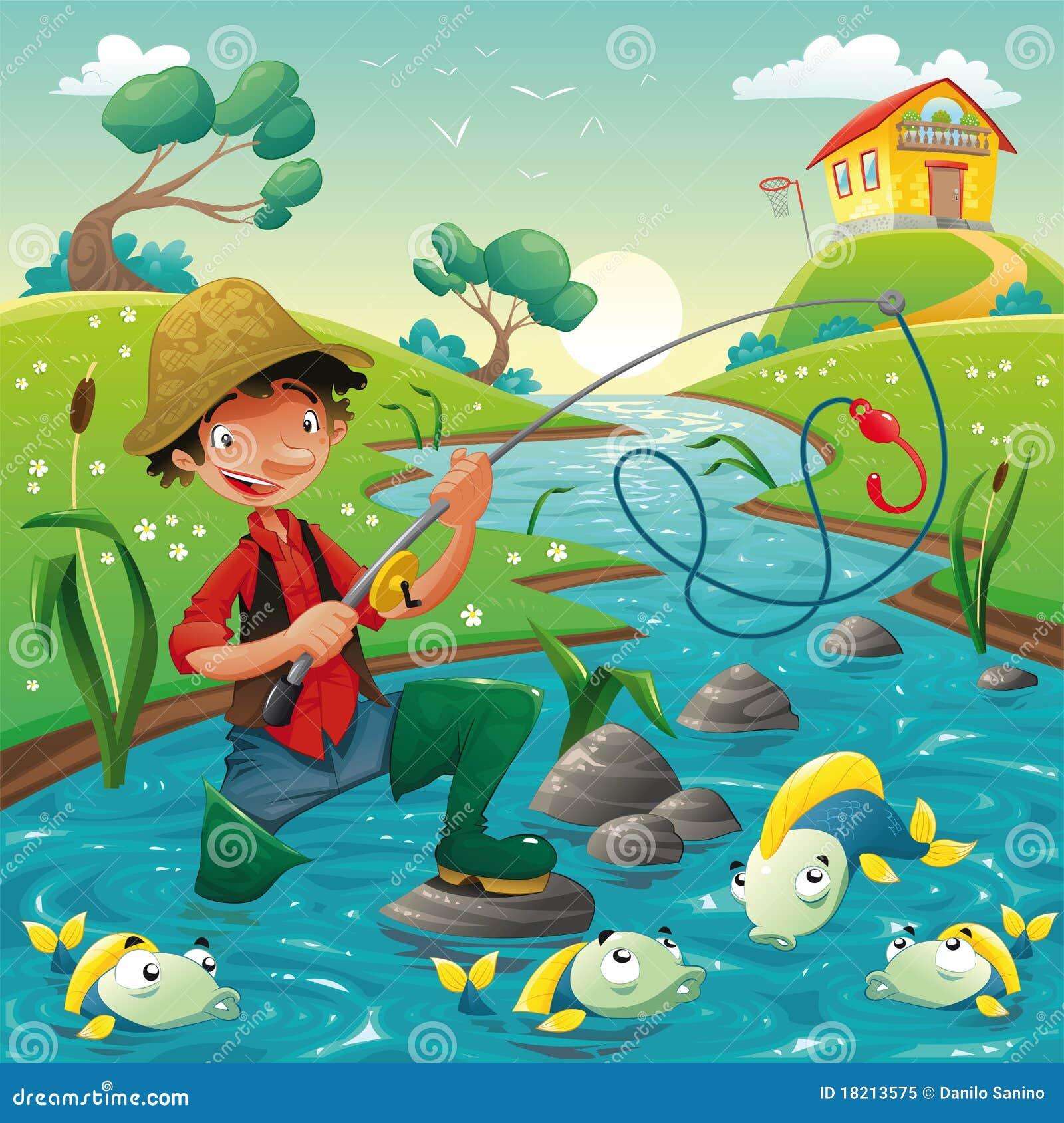 Pescador y pescados en el río.