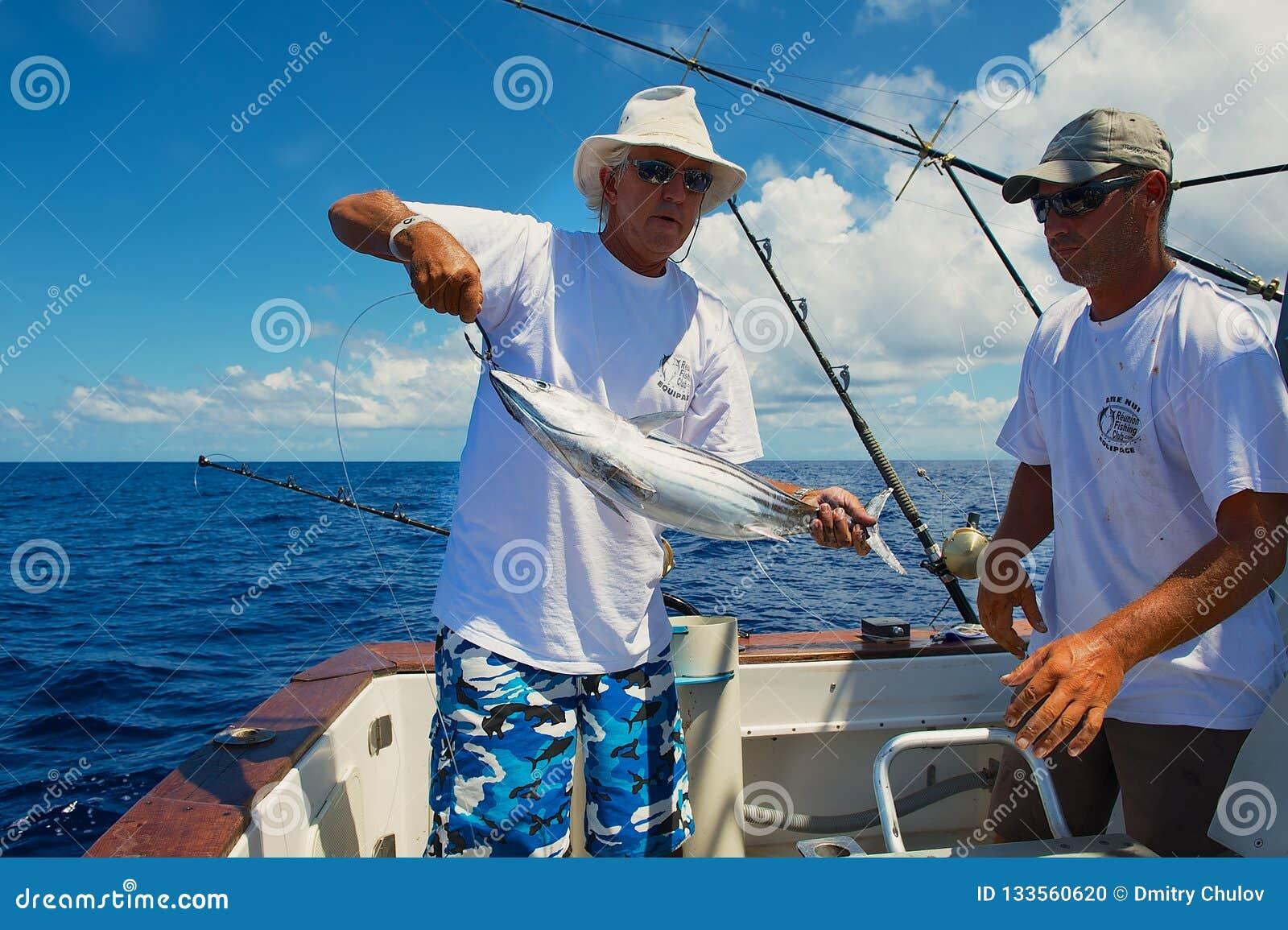 Pescados de atún del arreglo de la gente como cebo para la pesca de la aguja, en el mar cerca de St Denis, Reunion Island