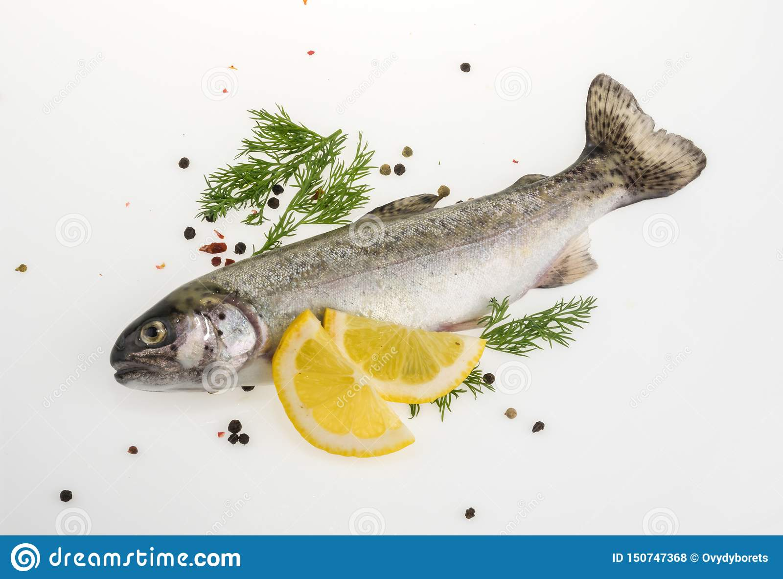 Pescados de la trucha con la opinión superior de las especias
