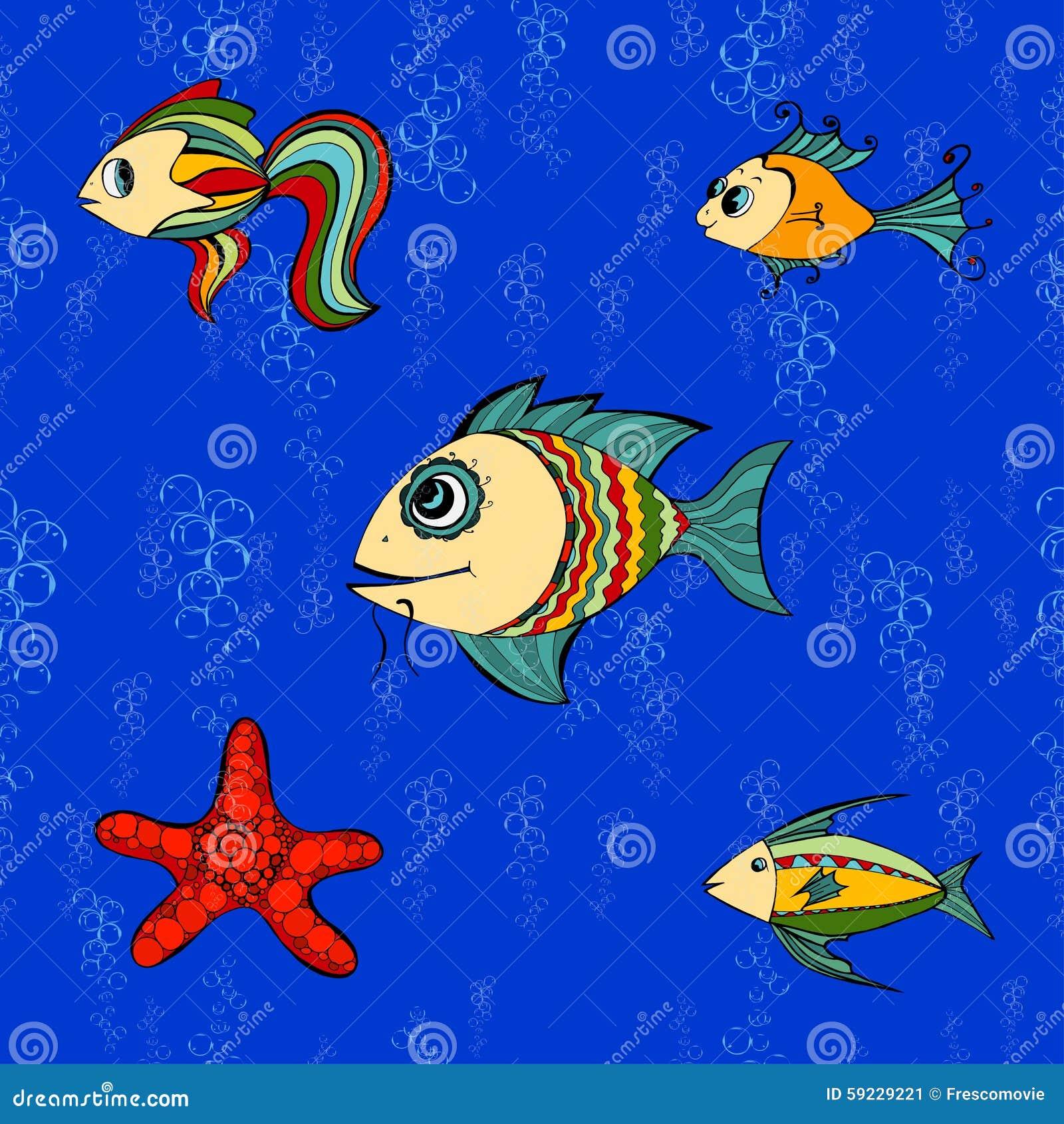 Download Pescados inconsútiles ilustración del vector. Ilustración de papel - 59229221