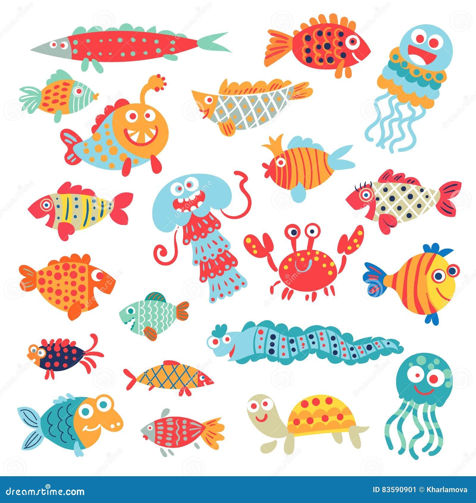 Pescados planos lindos Personaje de dibujos animados divertido