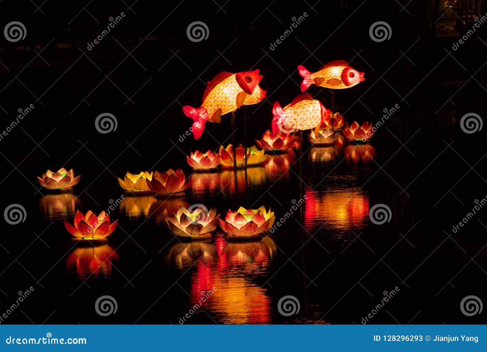 Pescados y Lotus Lanterns en el río