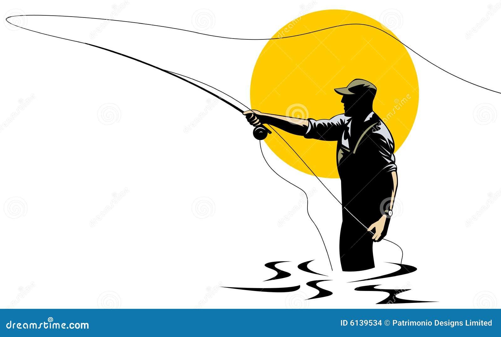 Pescatore della mosca che cattura una trota