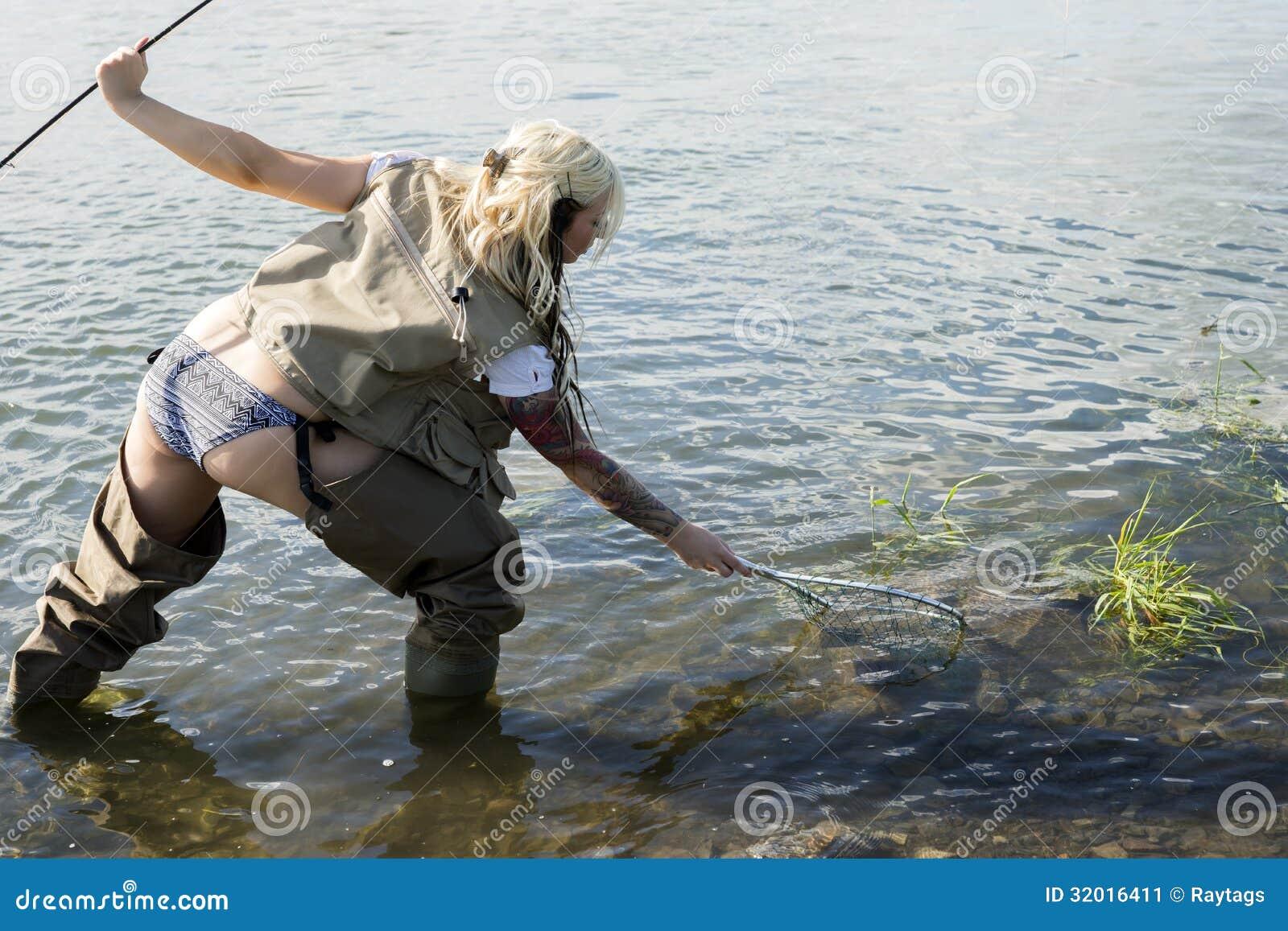 Pesce di cattura della donna di Fisher