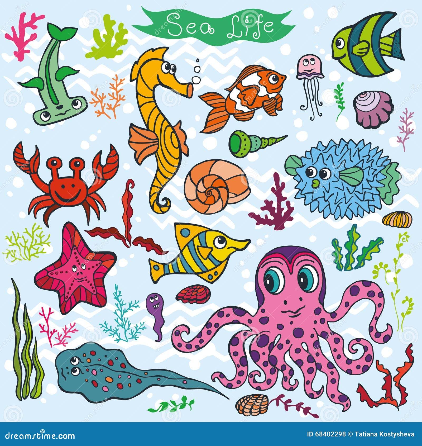 Pesce Divertente Del Fumetto Fondo Di Vita Di Mare Insieme Colorato