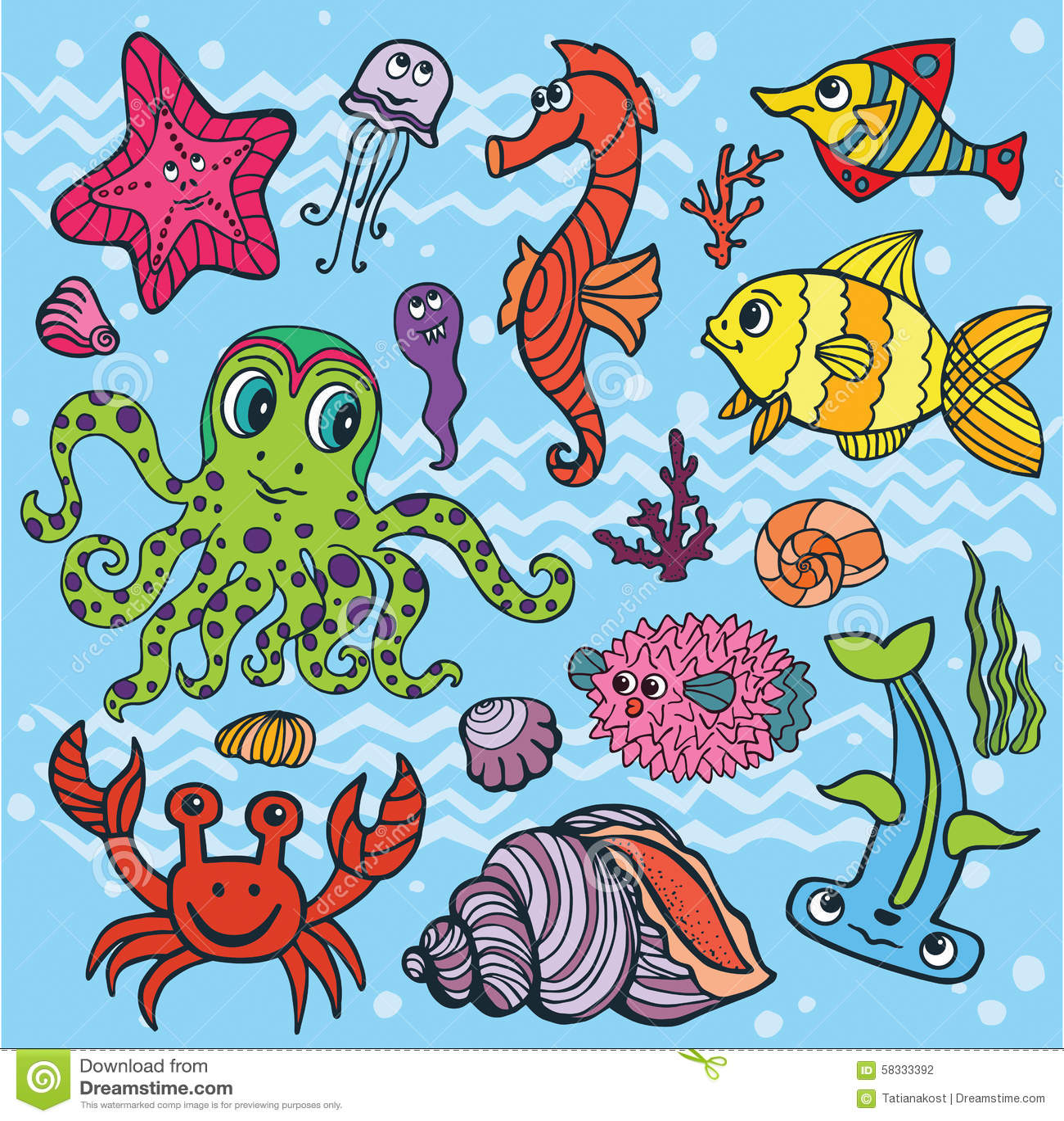 Pesce Divertente Del Fumetto Insieme Di Vita Di Mare Scarabocchio