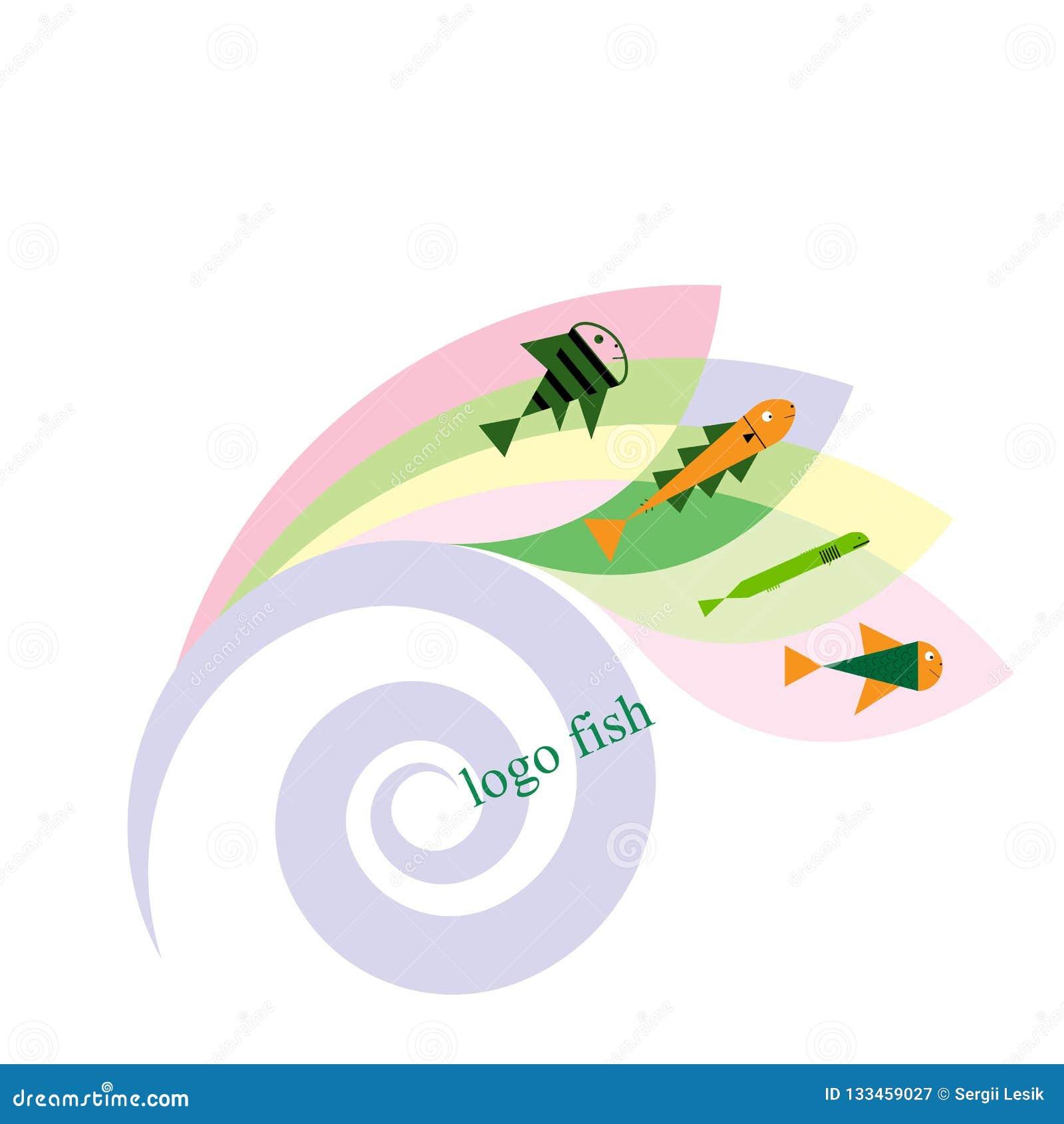 Pesce e pescare il modello di logo per la vostra progettazione Illustrazione di vettore dell emblema o dell icona