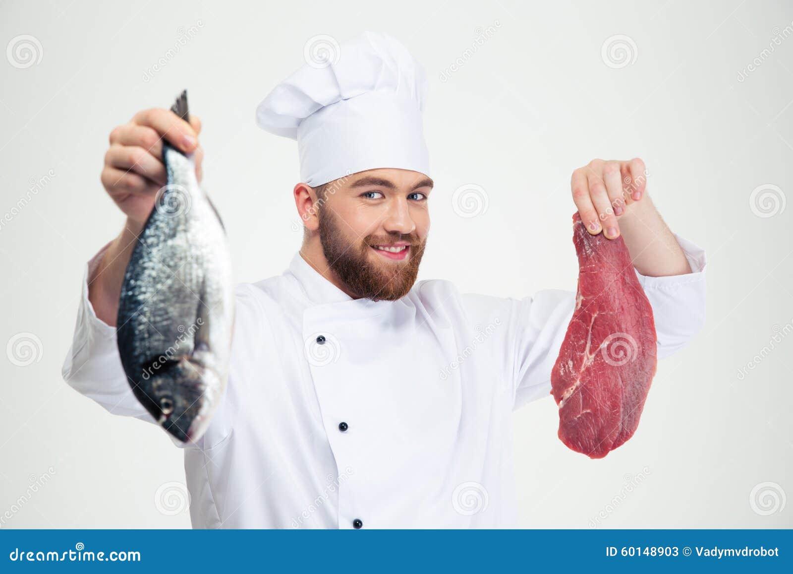 Pesce fresco e carne maschii della tenuta del cuoco del cuoco unico