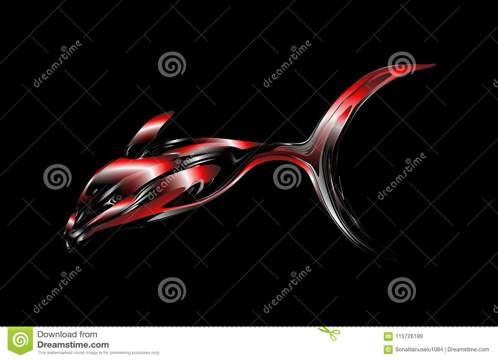 Pesce multicolore di vettore astratto con il fondo di effetto 3d con effetto della luce, illustrazione di vettore