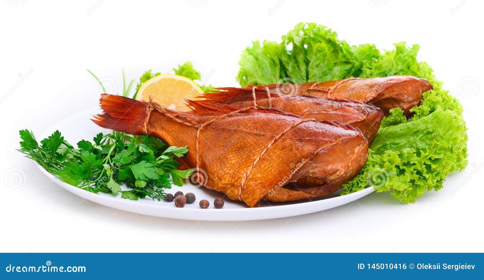 Pesce persico del pesce affumicato delizioso