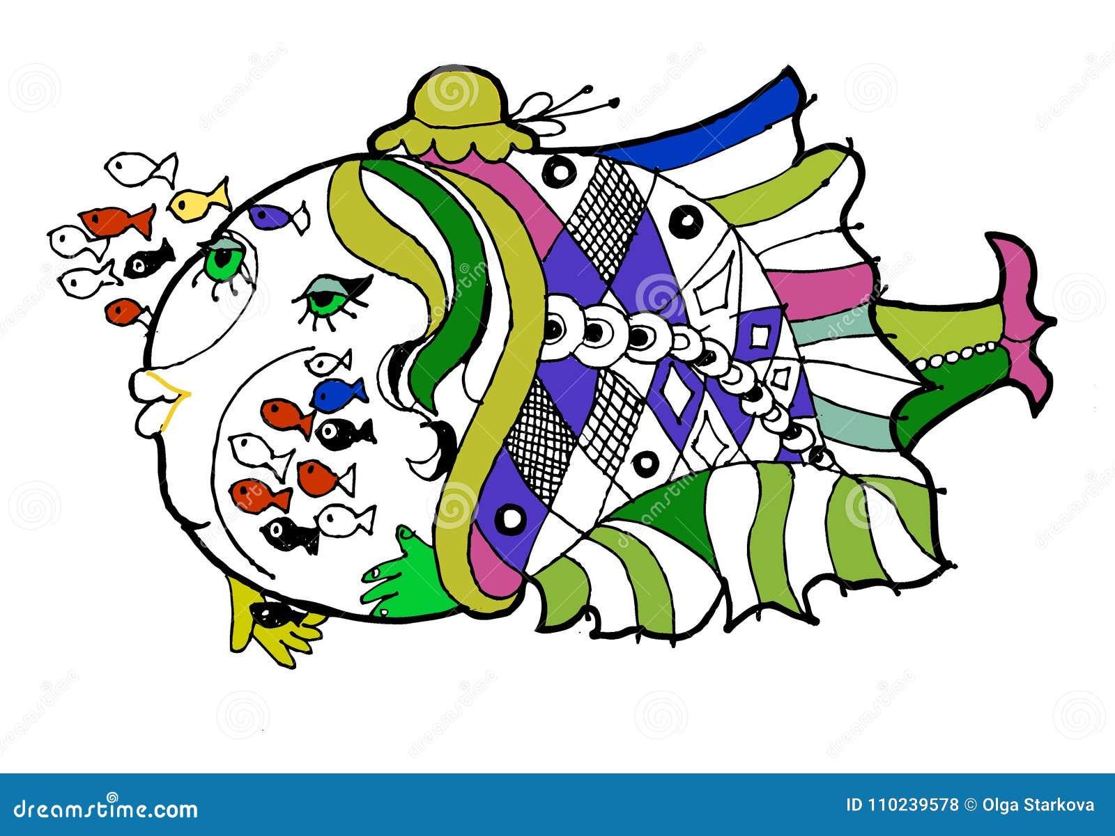 Peschi La Scuola Materna Il Libro Da Colorare Pesce Divertente Del