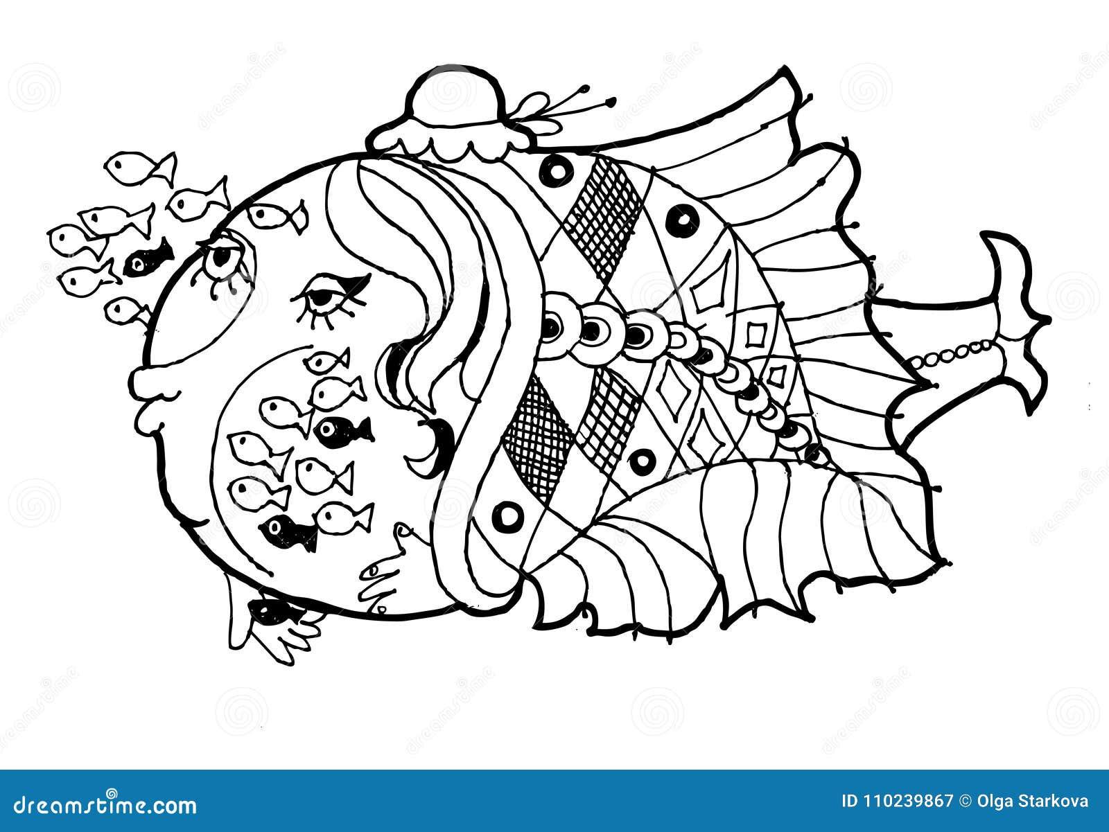 Peschi La Scuola Materna Il Pesce Divertente Del Fumetto Il Blach