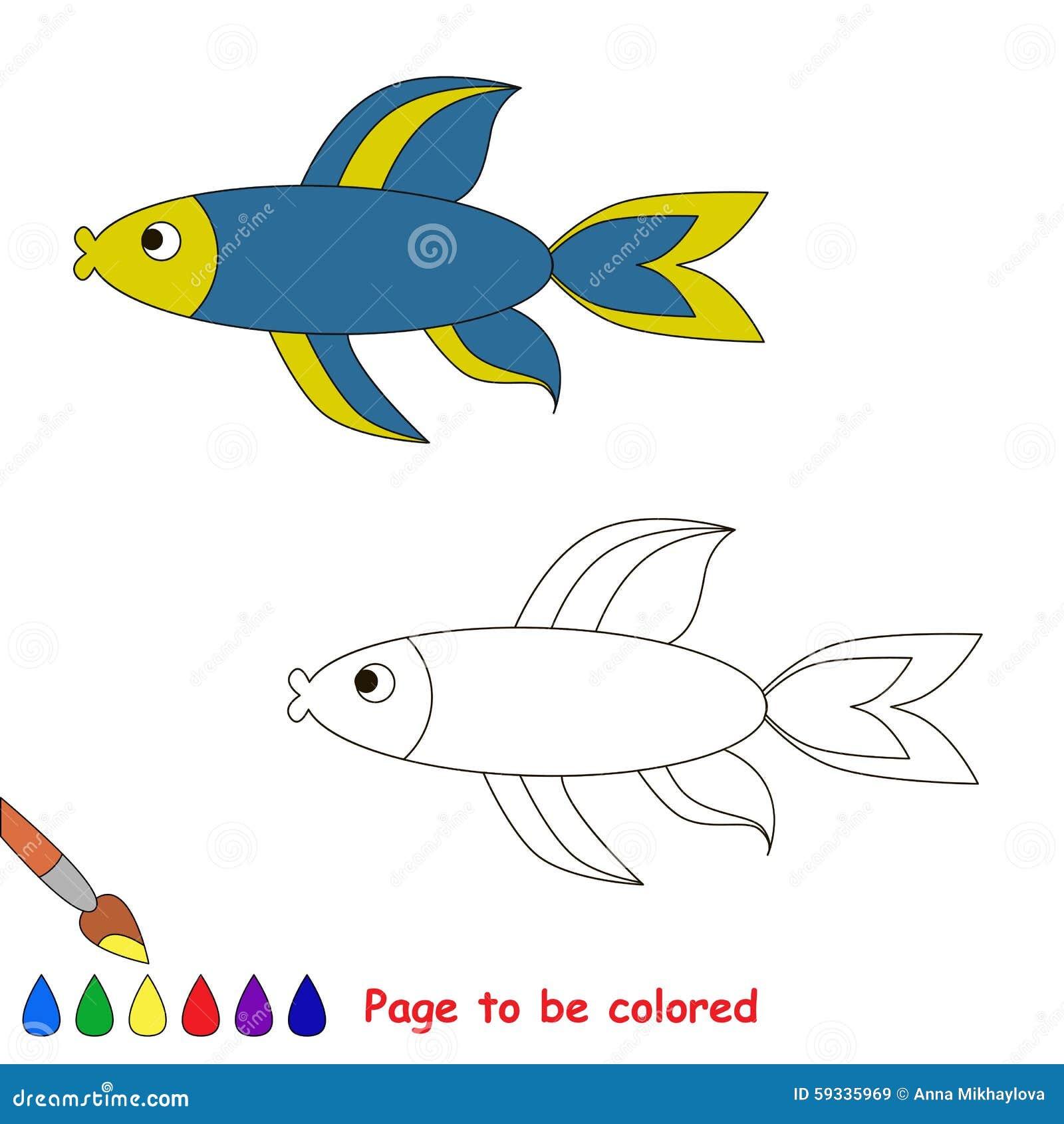 Pesci Blu Libro Da Colorare Per I Bambini Illustrazione Vettoriale Illustrazione Di Disegno Singolo 59335969