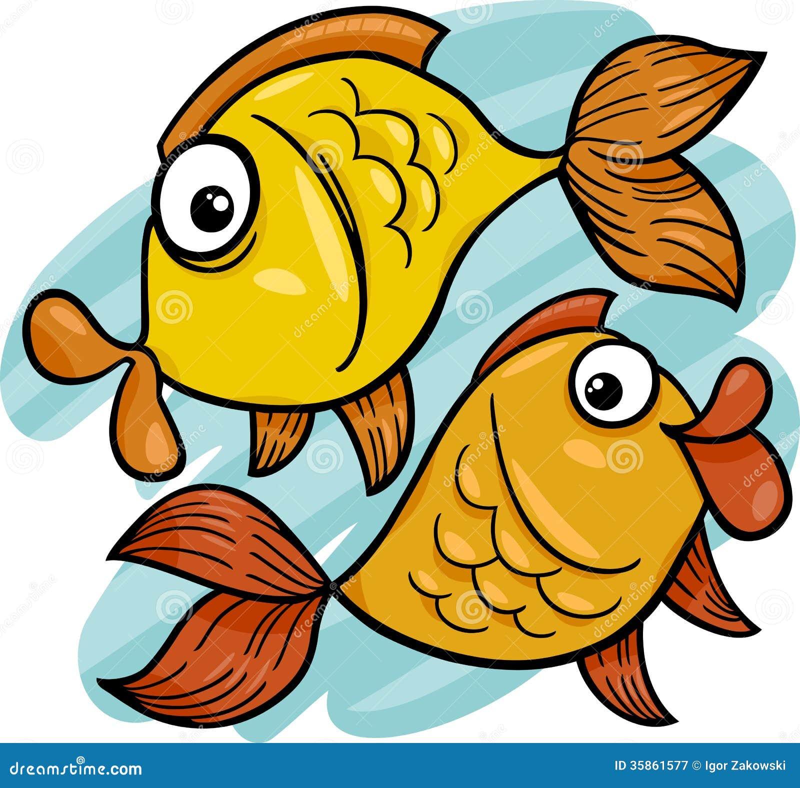 Pesci dello zodiaco o fumetto del pesce illustrazione