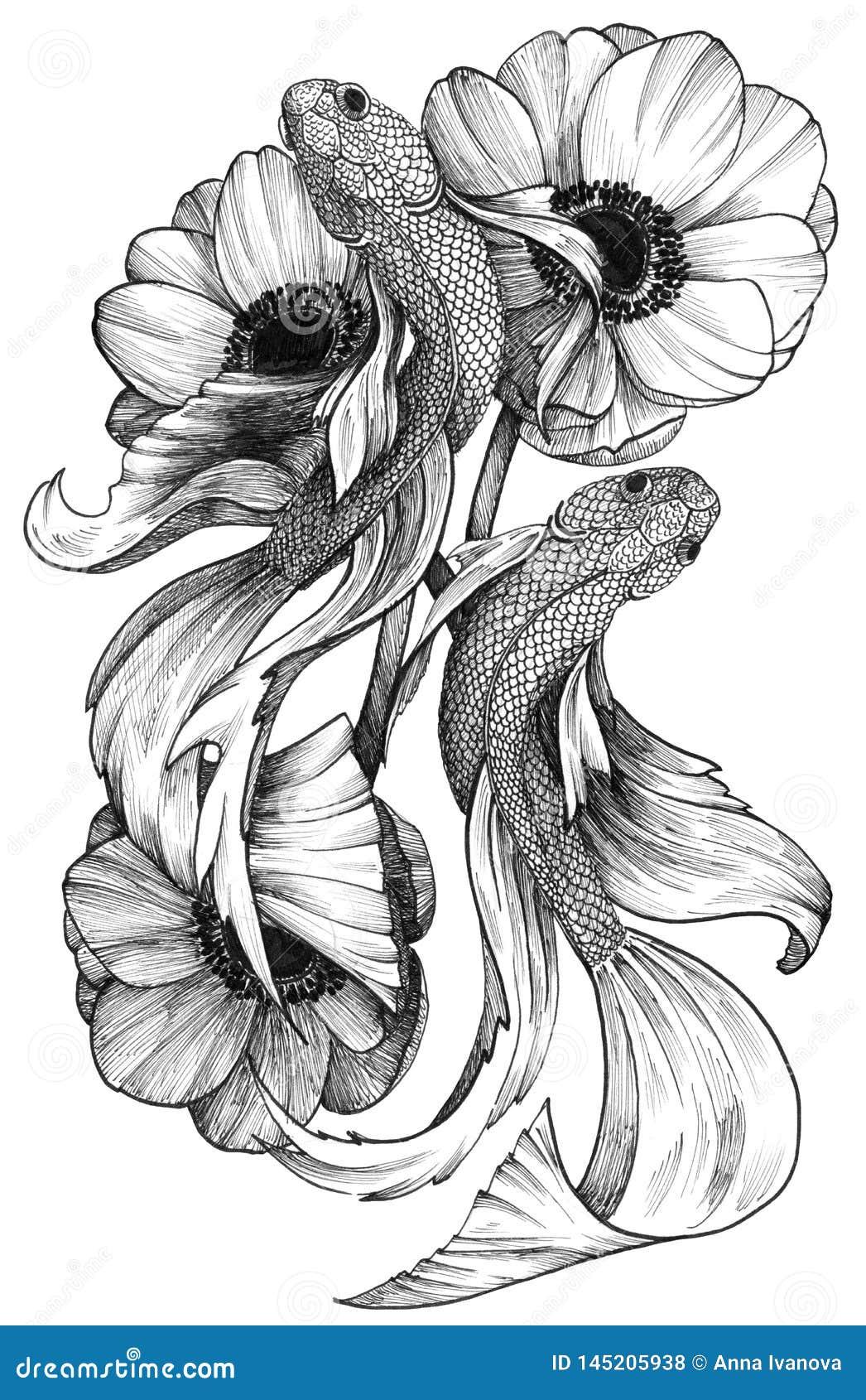 Pesci dettagliati del tatuaggio dell inchiostro nero in composizione floreale