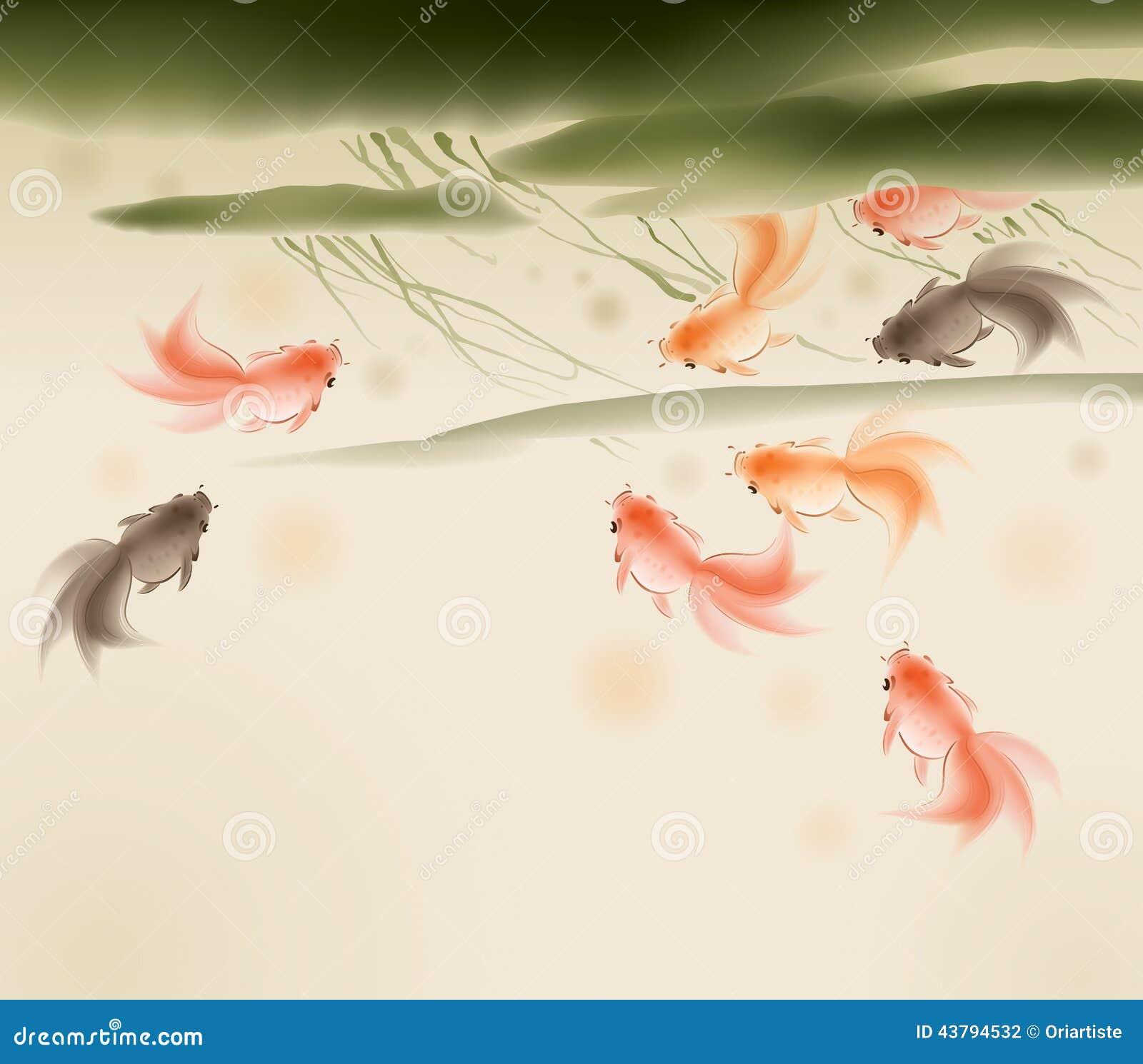 Pesci rossi nello stagno di loto illustrazione vettoriale for Pesci stagno