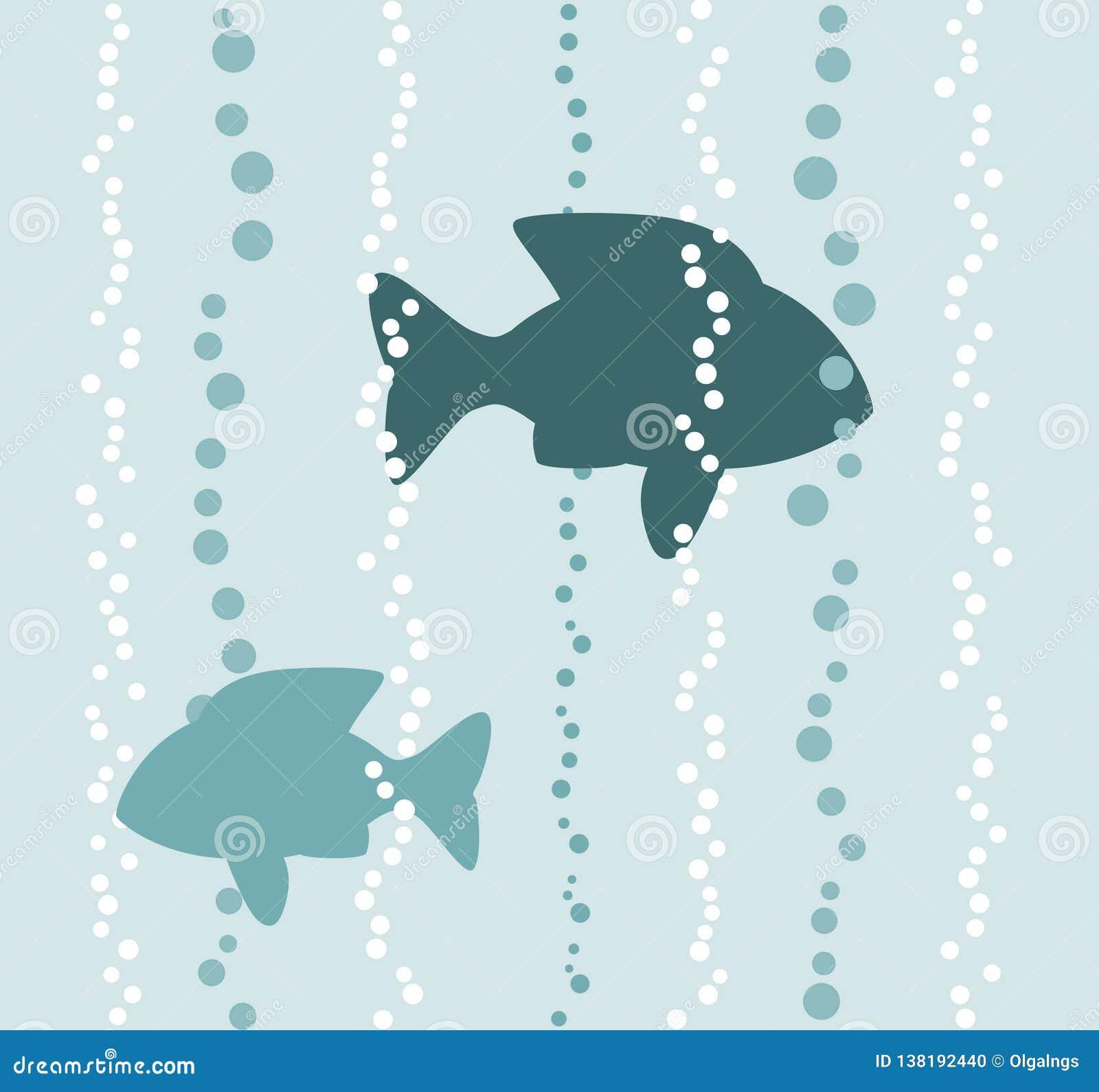Pesci in un acqua con le bolle di aria, illustrazione