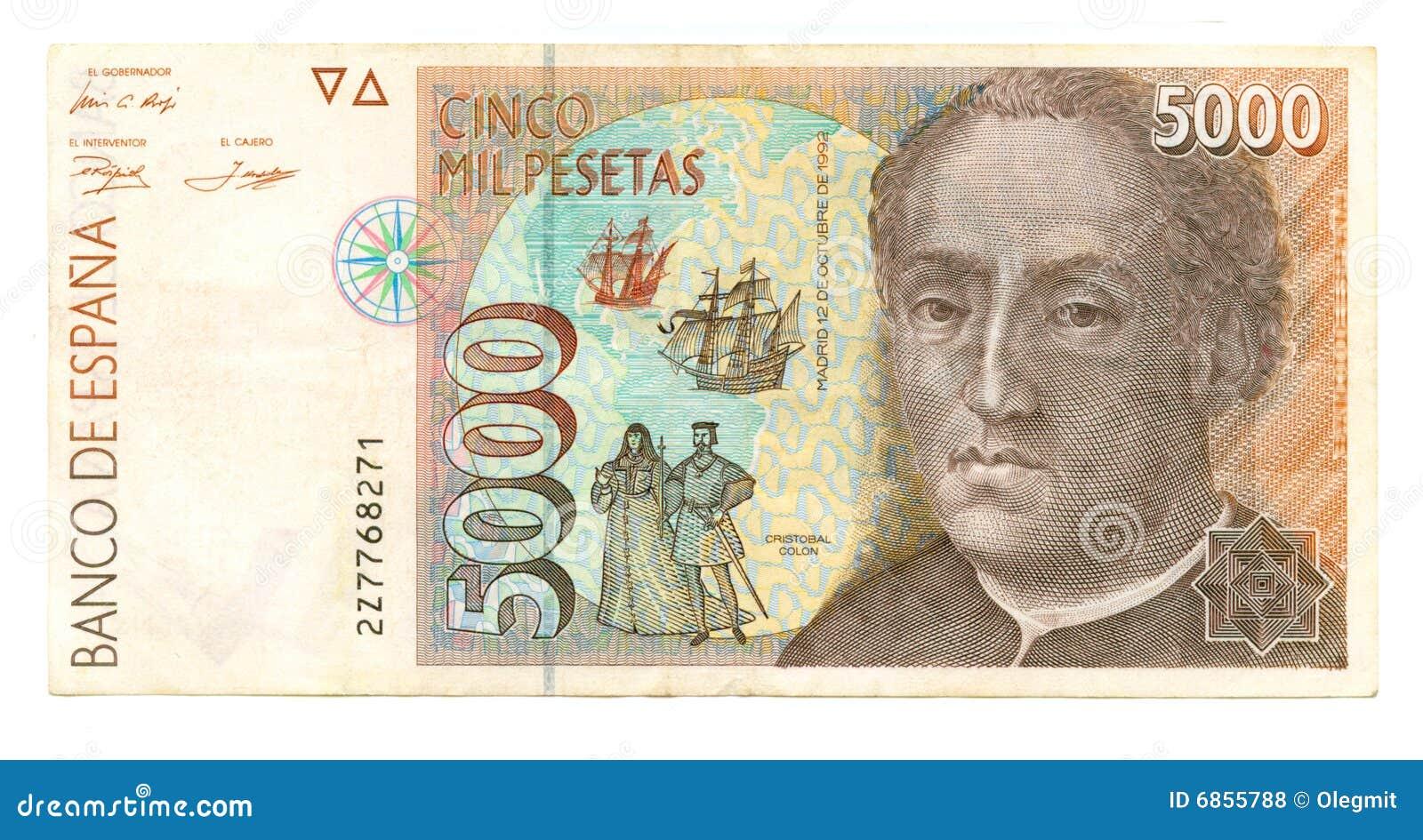 Peseta Испания 5000 счетов