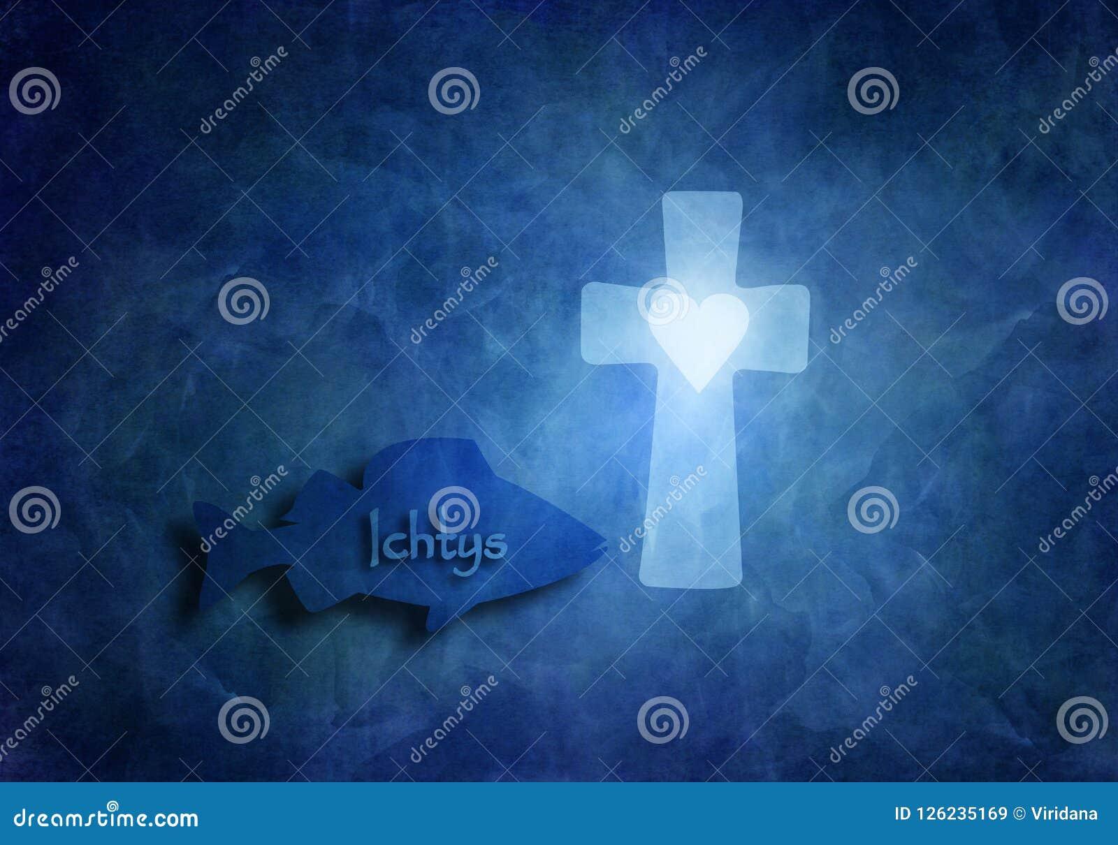 Pesque com natação do sinal de Ichtys no mar azul e uma cruz cristã com os deuses de simbolização de um coração ama em período da