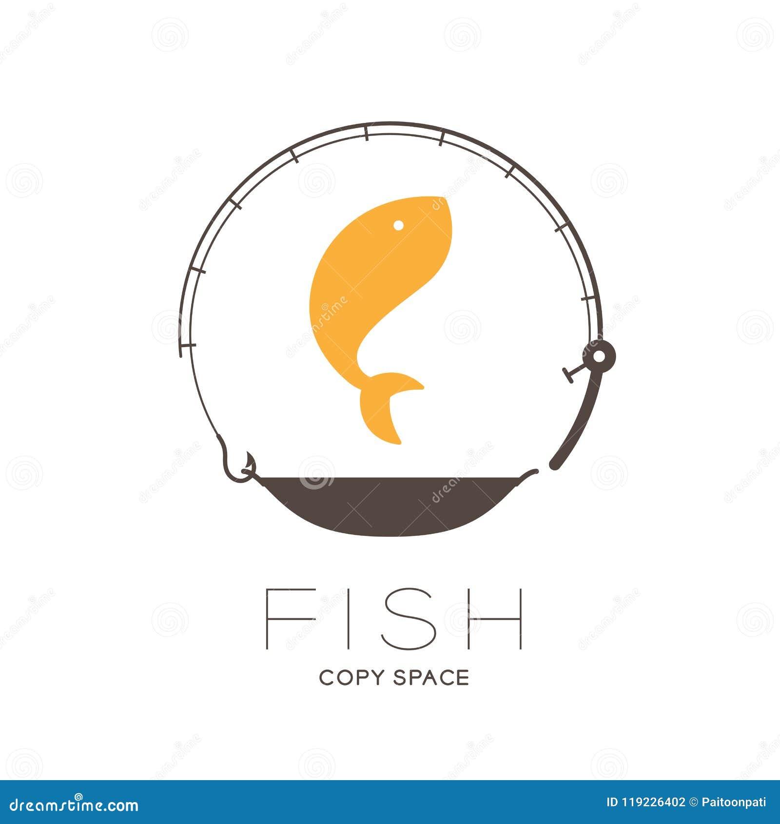 Pesque el salto en la forma del círculo del marco de la caña de pescar y de la cacerola, ejemplo del diseño determinado del icono