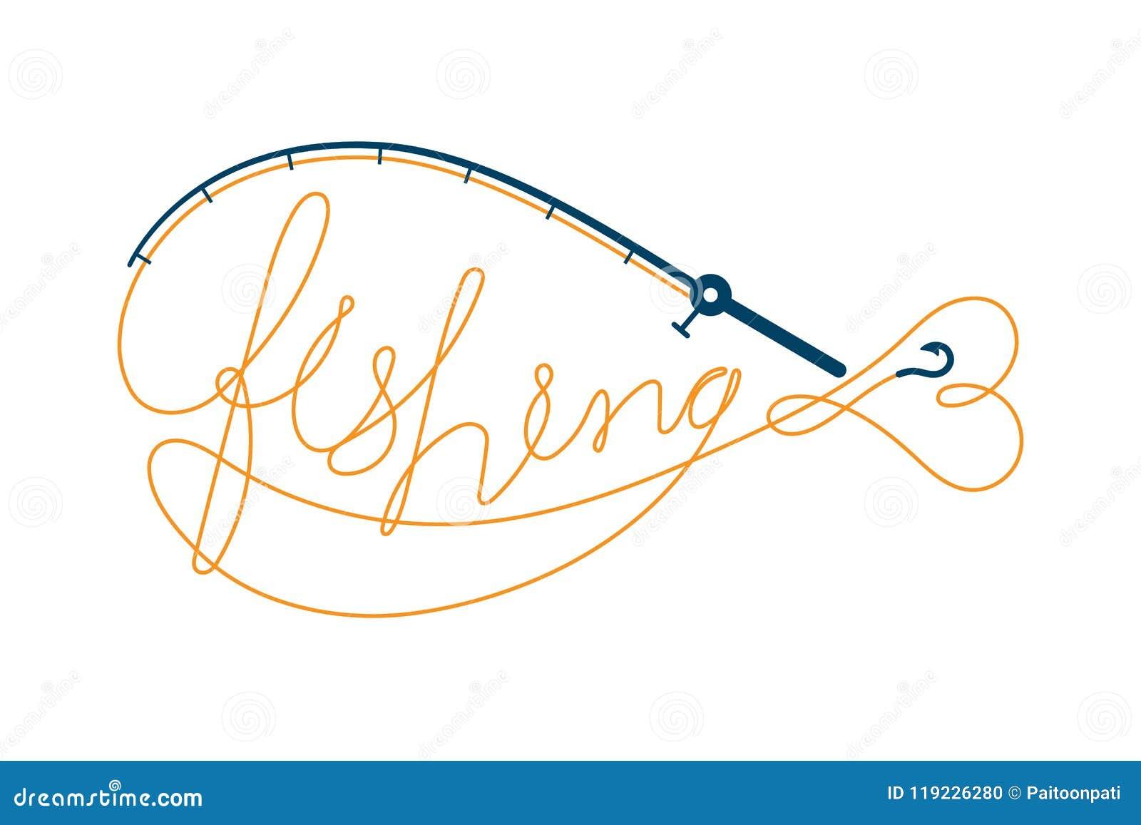 Pesque o texto feito da forma dos peixes do quadro da vara de pesca, cenografia do ícone do logotipo alaranjada e escura - ilustr