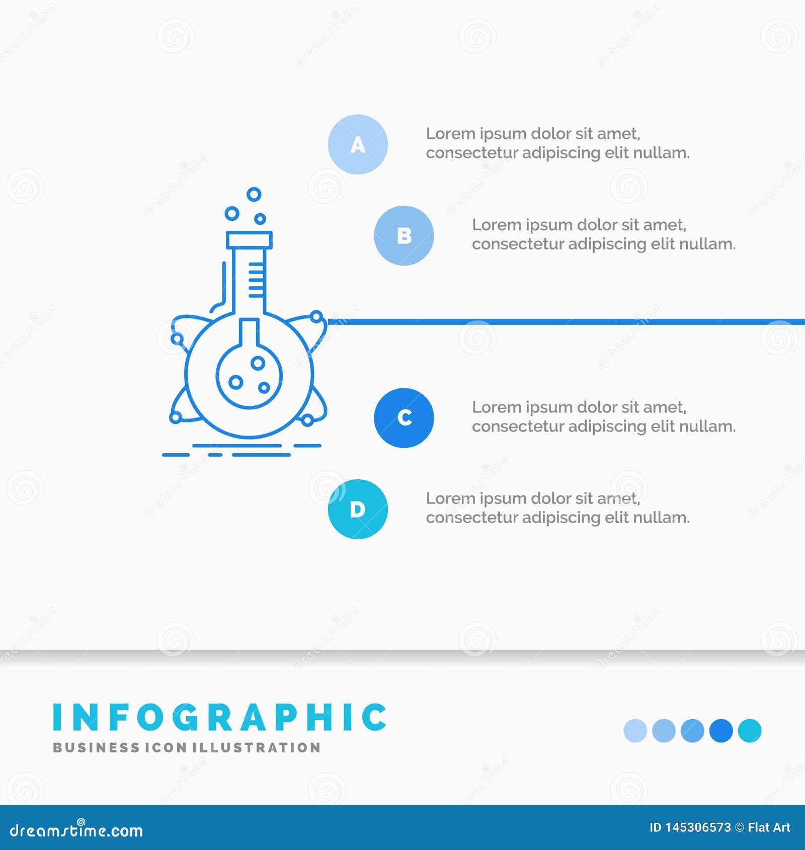 Pesquisa, laborat?rio, garrafa, tubo, molde de Infographics do desenvolvimento para o Web site e apresenta??o Linha ?cone azul in