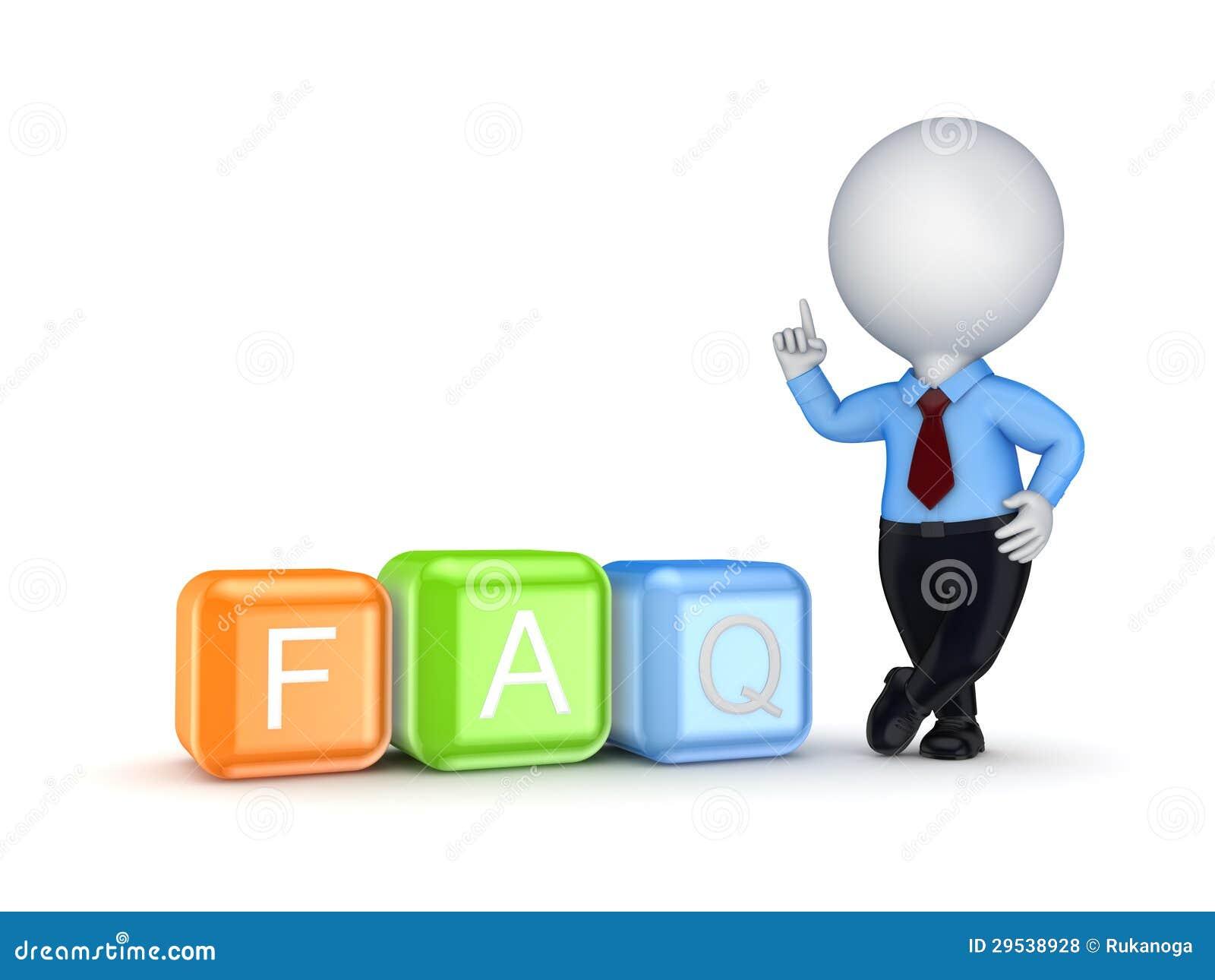Pessoa 3d pequena e palavra FAQ.