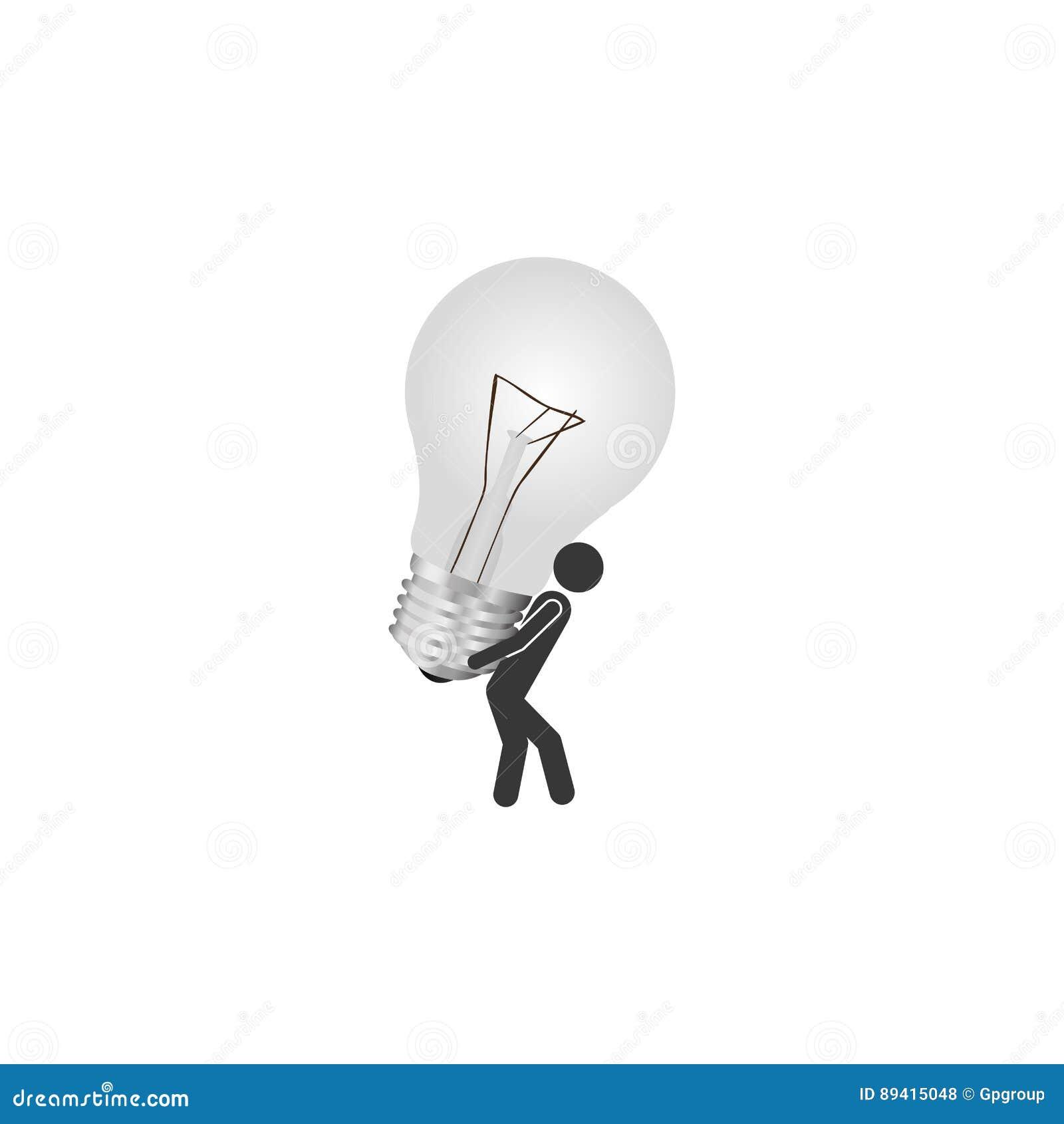 Pessoa com ícone da ideia do bulbo