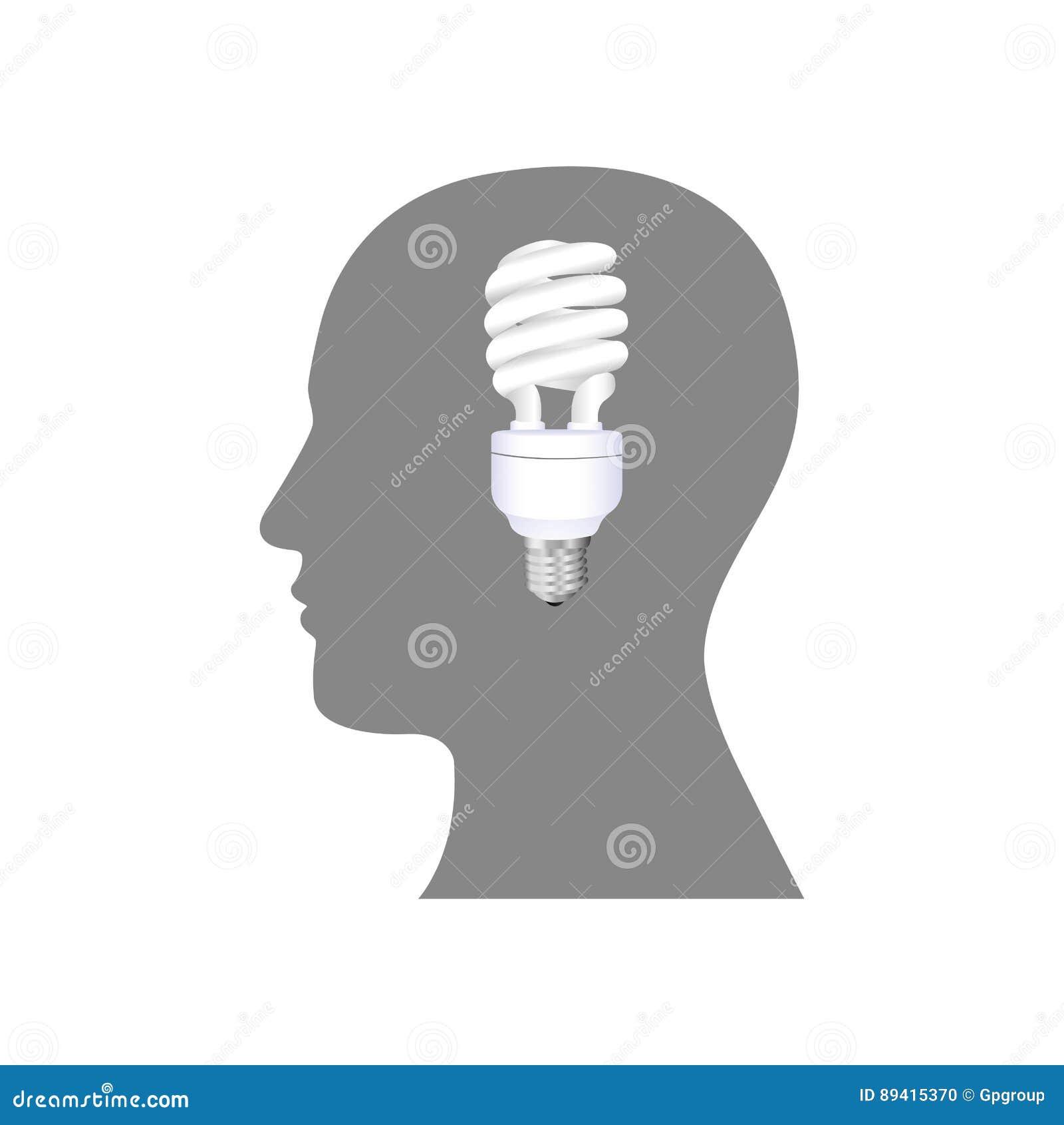 Pessoa com ícone do bulbo das economias do cérebro