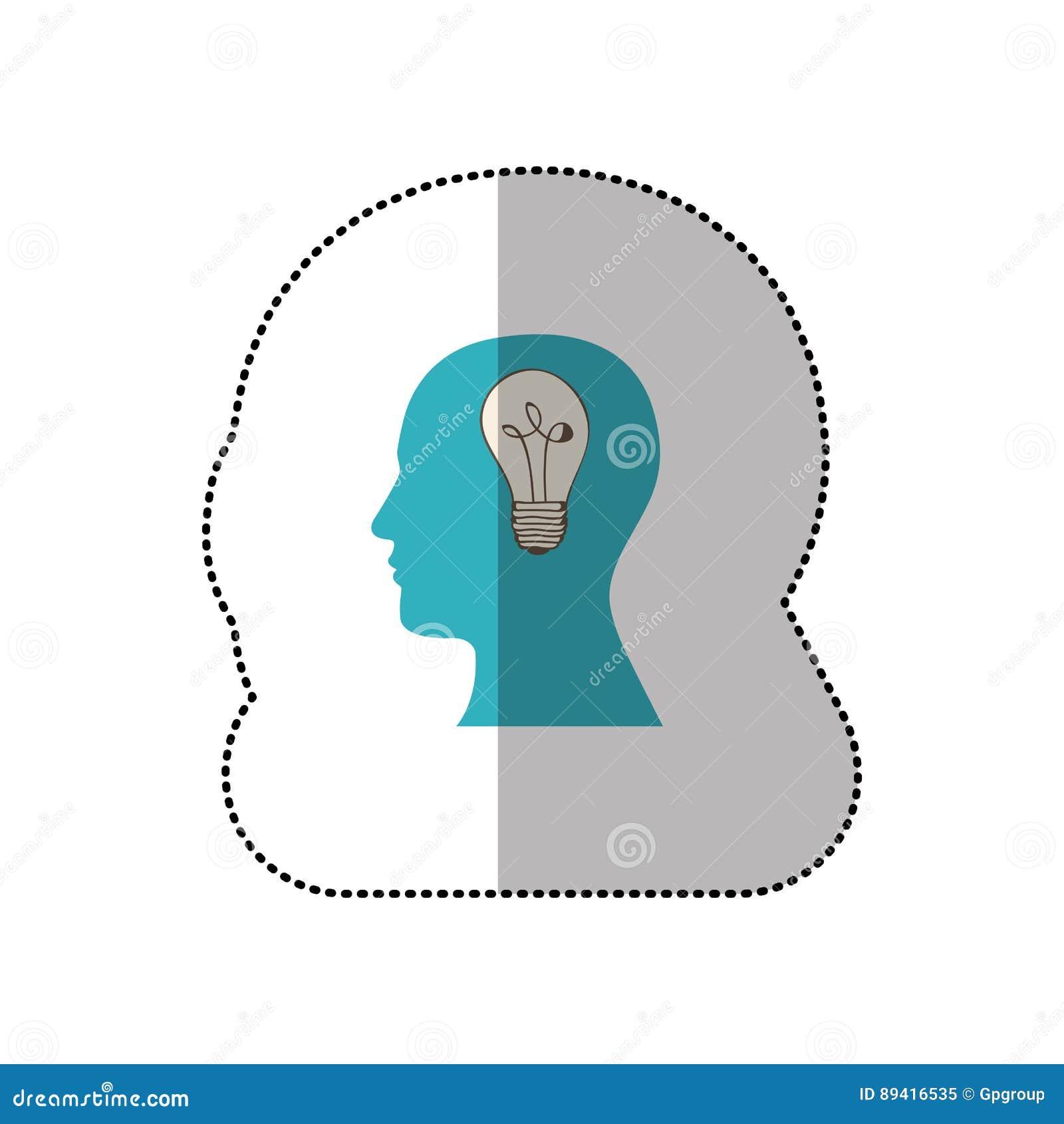 Pessoa com ícone do bulbo do cérebro