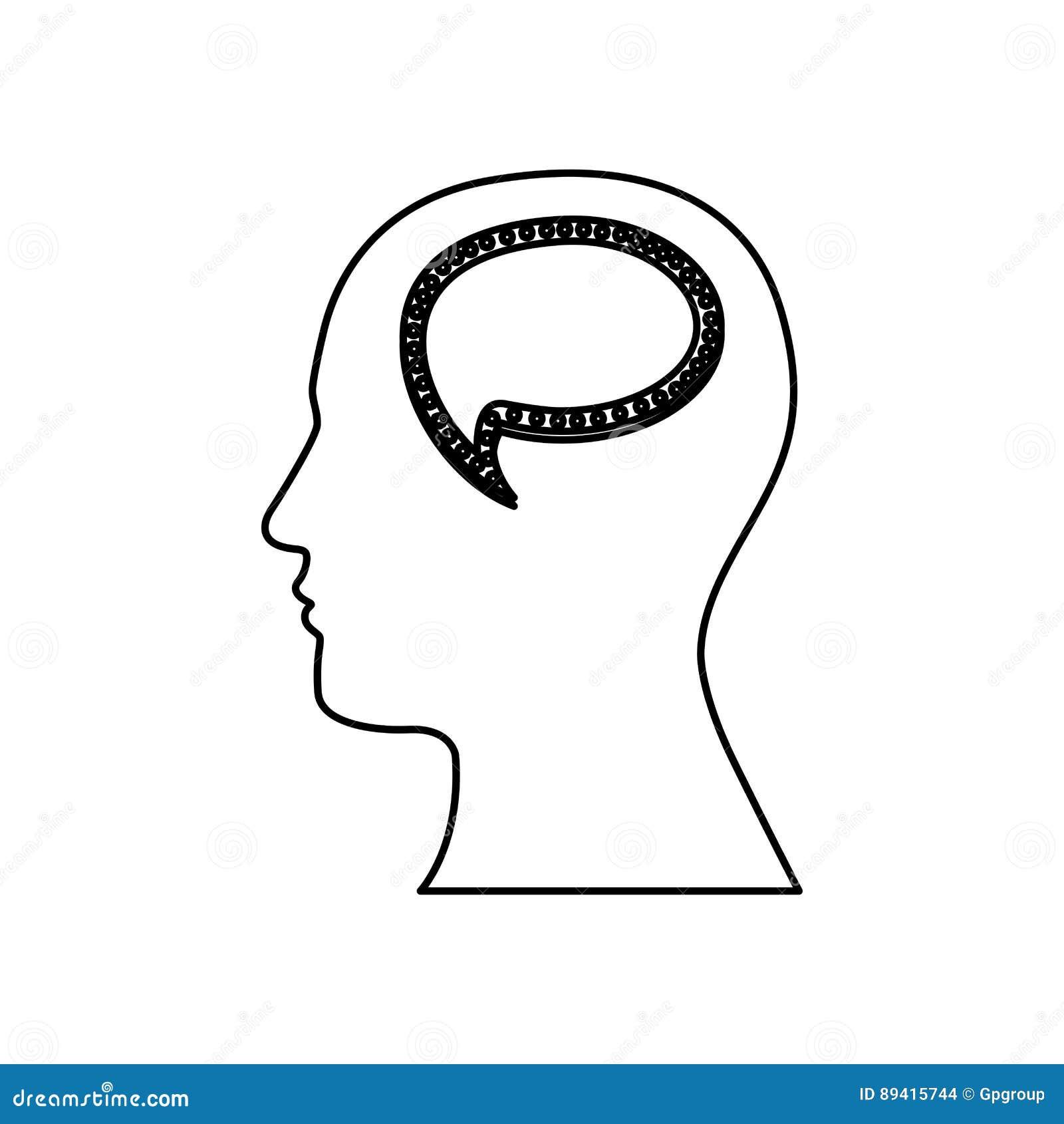 Pessoa com ícone do cérebro da bolha