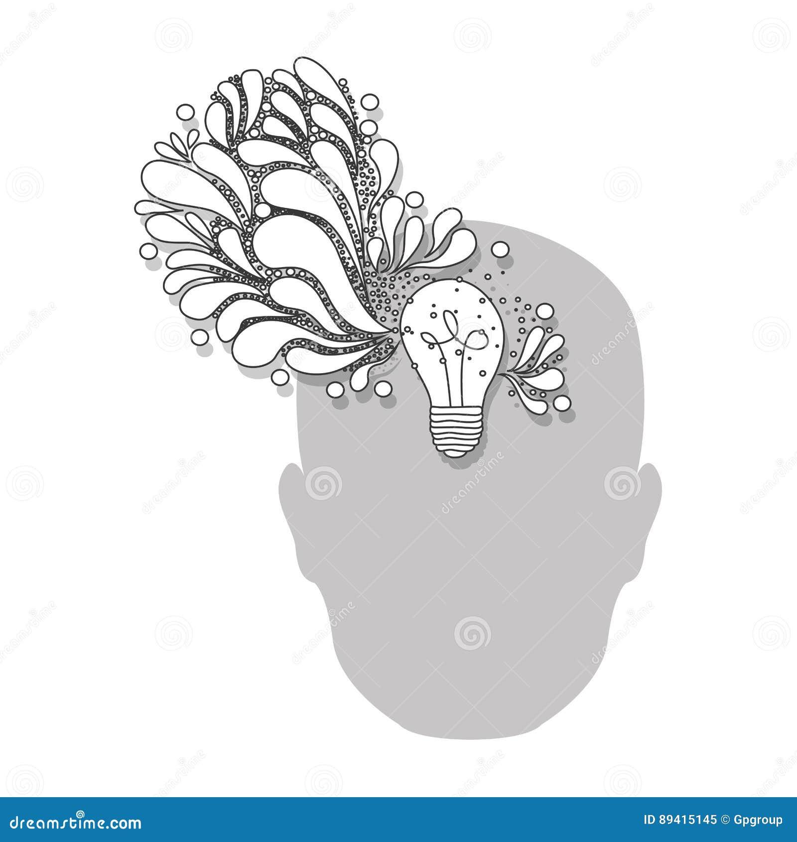 Pessoa com ícone do cérebro do bulbo