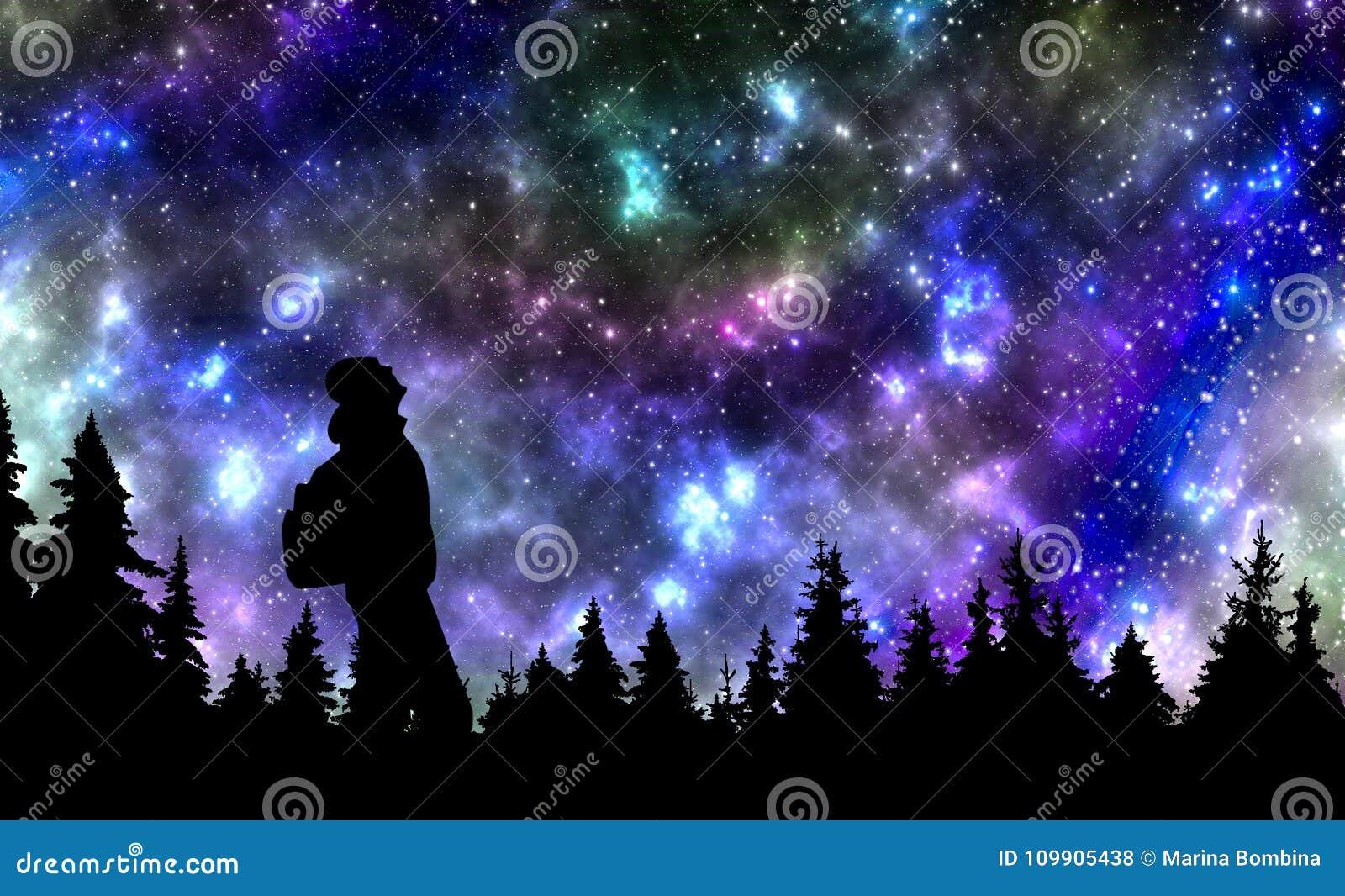 A pessoa com a observação da trouxa protagoniza no céu noturno acima do p